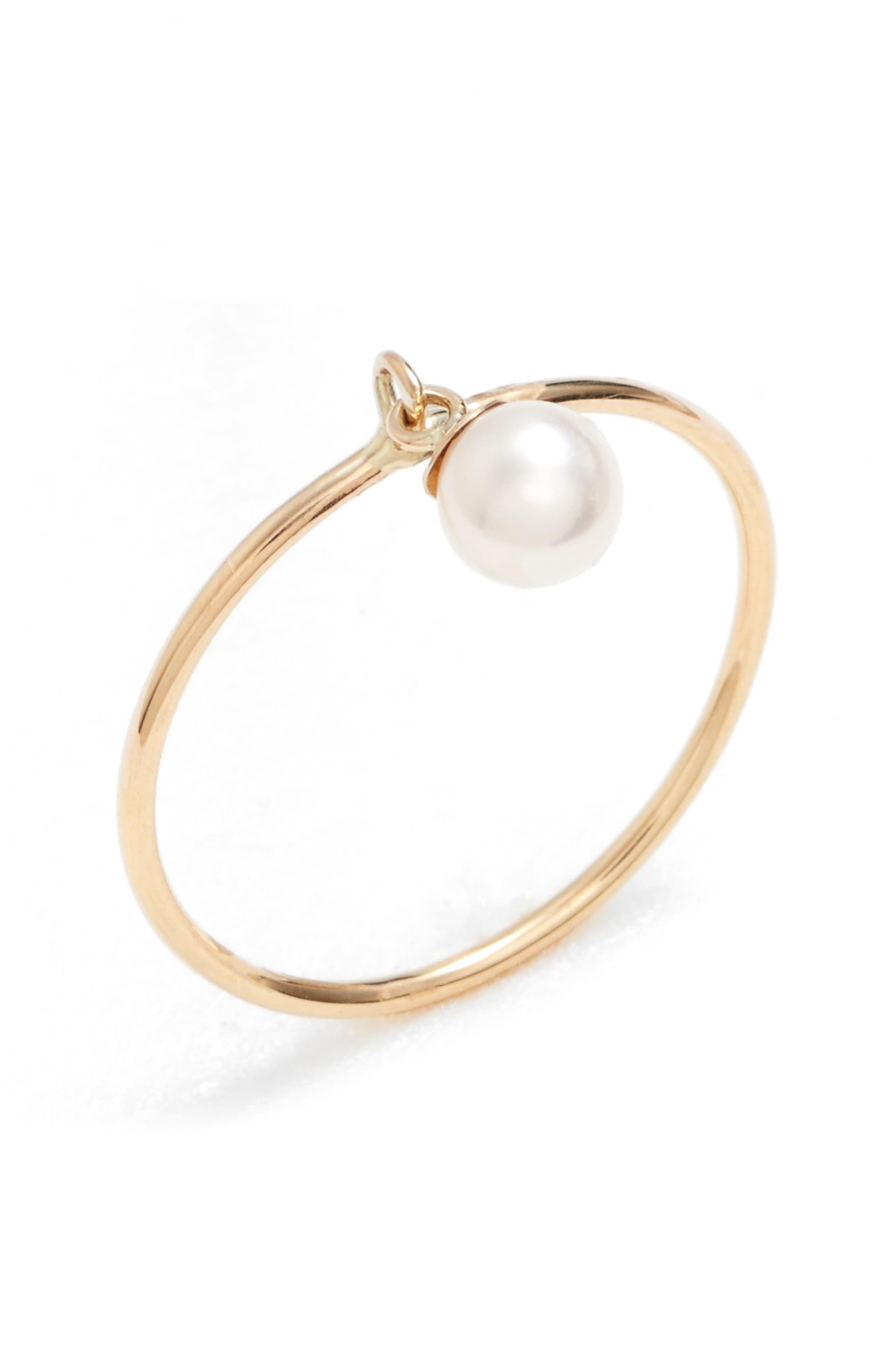 Poppy Finch Dangling Pearl Charm Ring