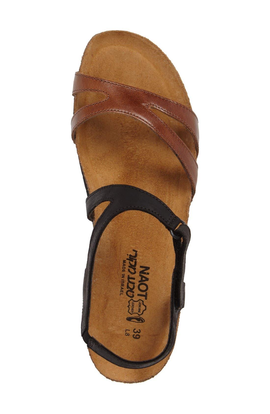 Janis Sandal,                             Alternate thumbnail 3, color,                             Brown/ Black Leather