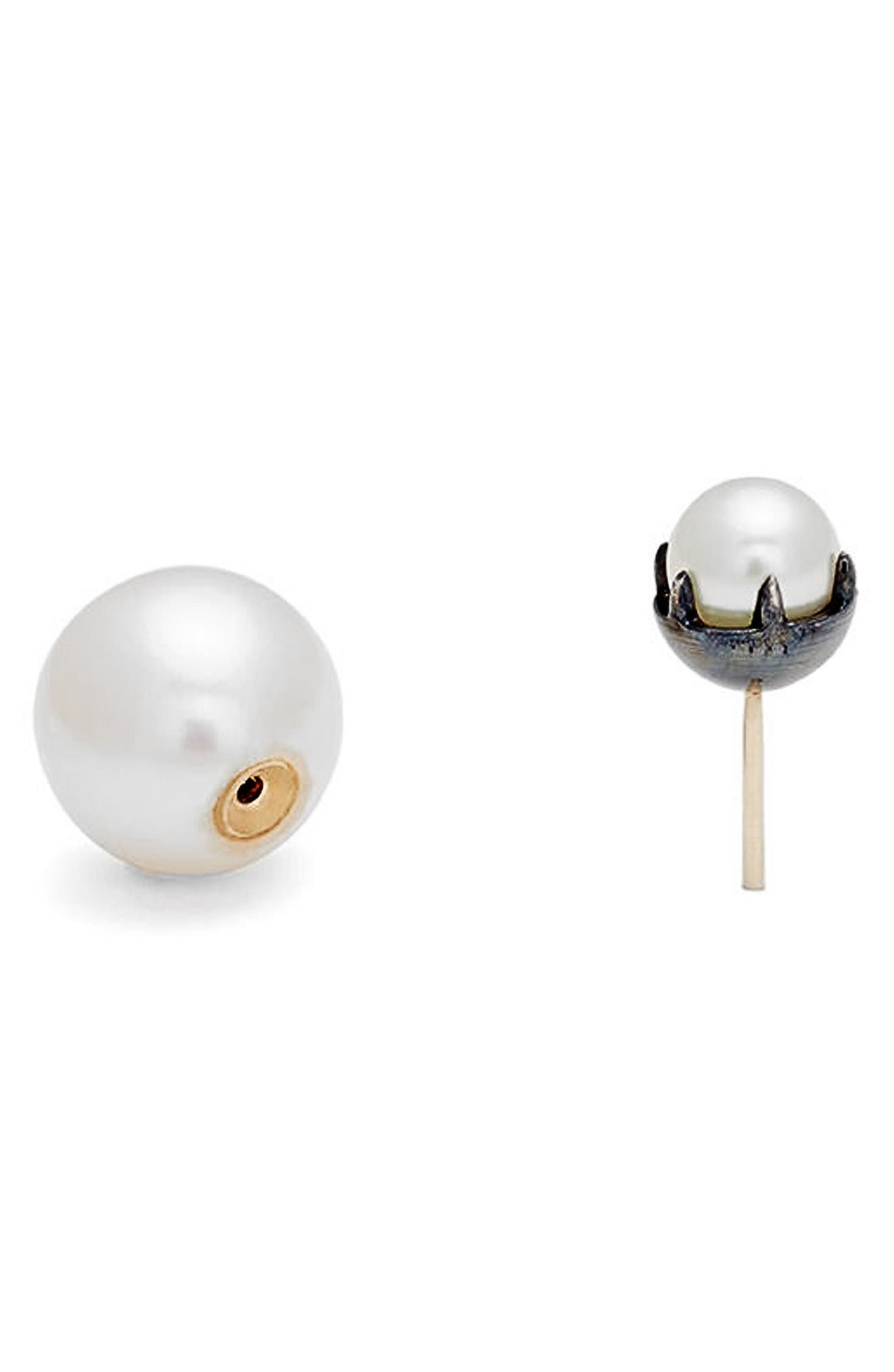 Akoya & Freshwater Pearl Double Stud Earrings,                             Alternate thumbnail 2, color,                             Gold Pearl