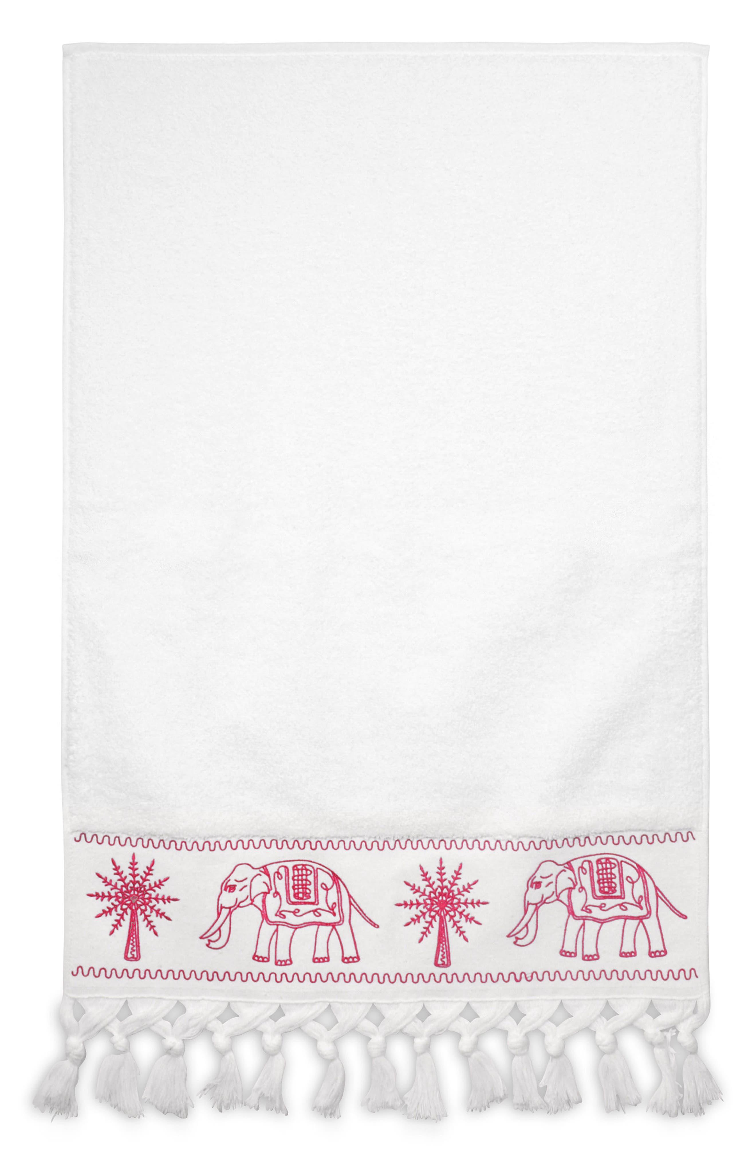 Yaji Fringed Hand Towel,                         Main,                         color, Pink