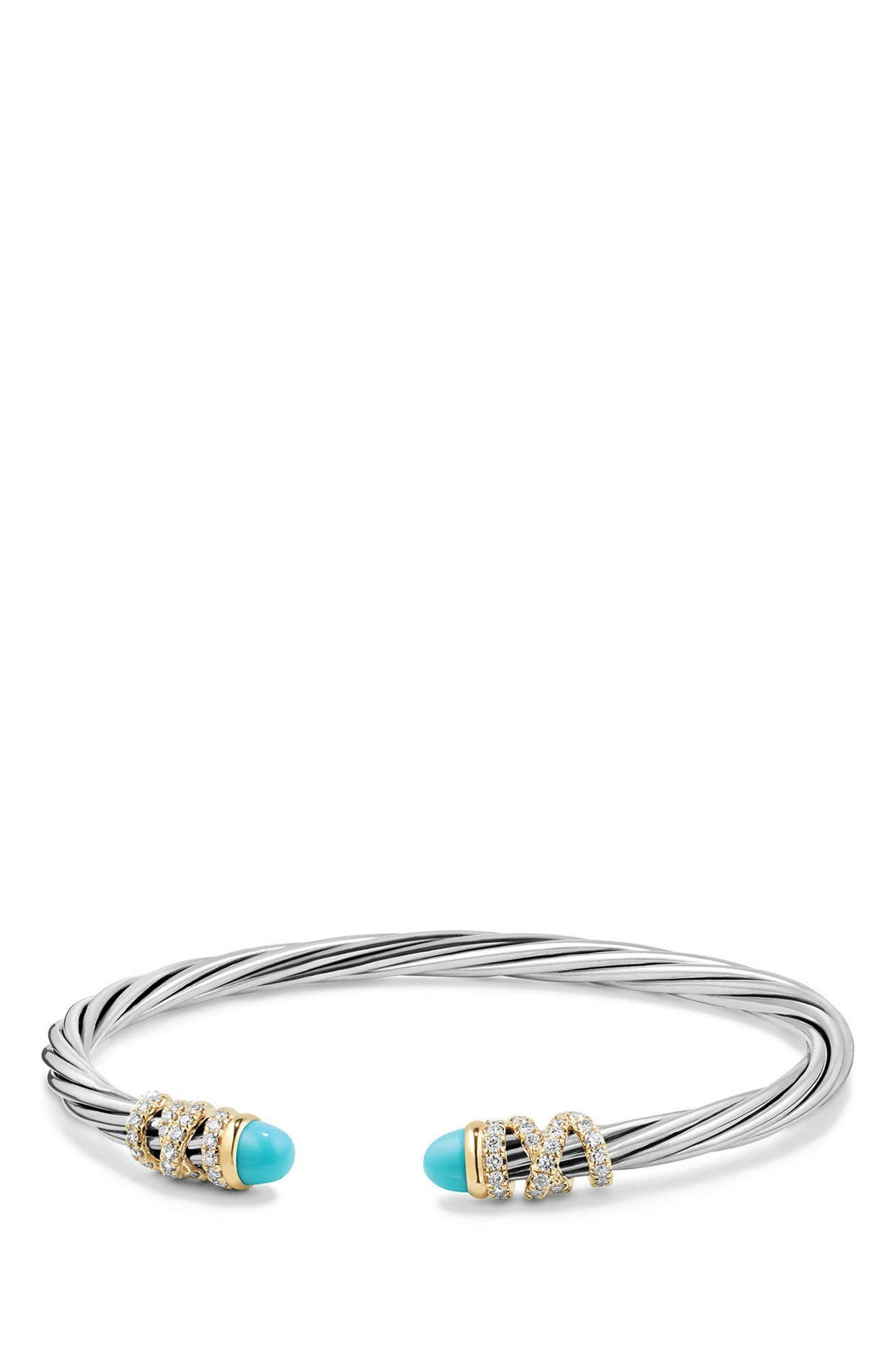 Helena End Station Bracelet with Diamonds & 18K Gold, 4mm,                             Main thumbnail 1, color,                             Silver/ Turquoise