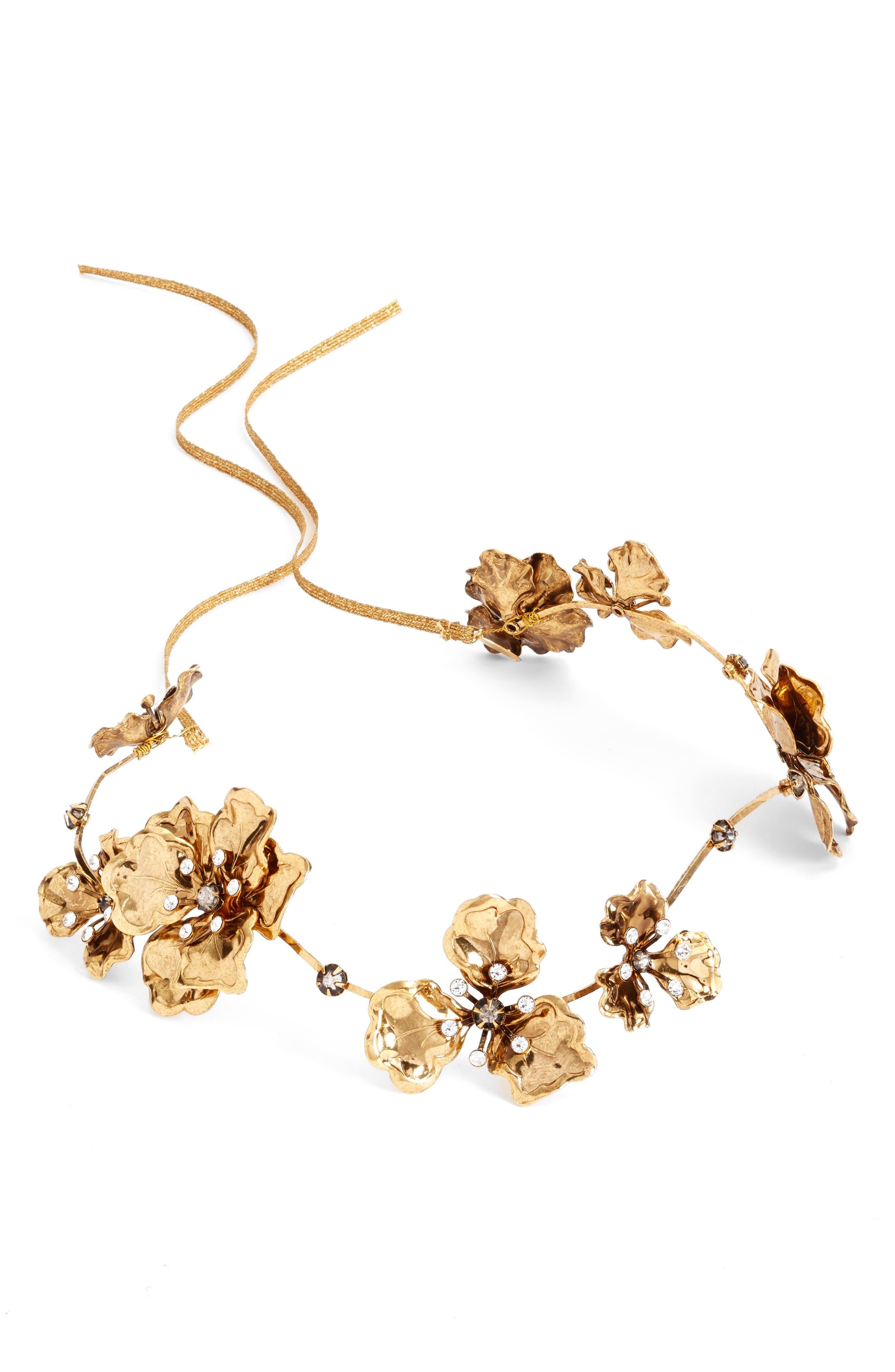 Wavy Gilded Antique Flower Headband,                             Alternate thumbnail 2, color,                             Antique Gold