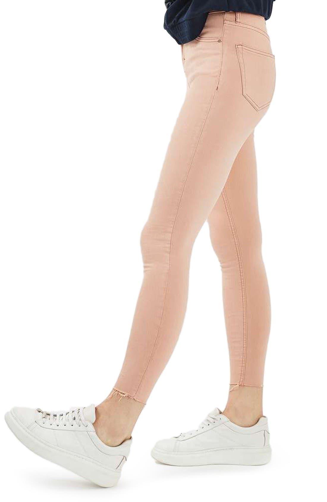 Alternate Image 4  - Topshop Jamie Raw Hem Skinny Jeans (Dusky Pink)