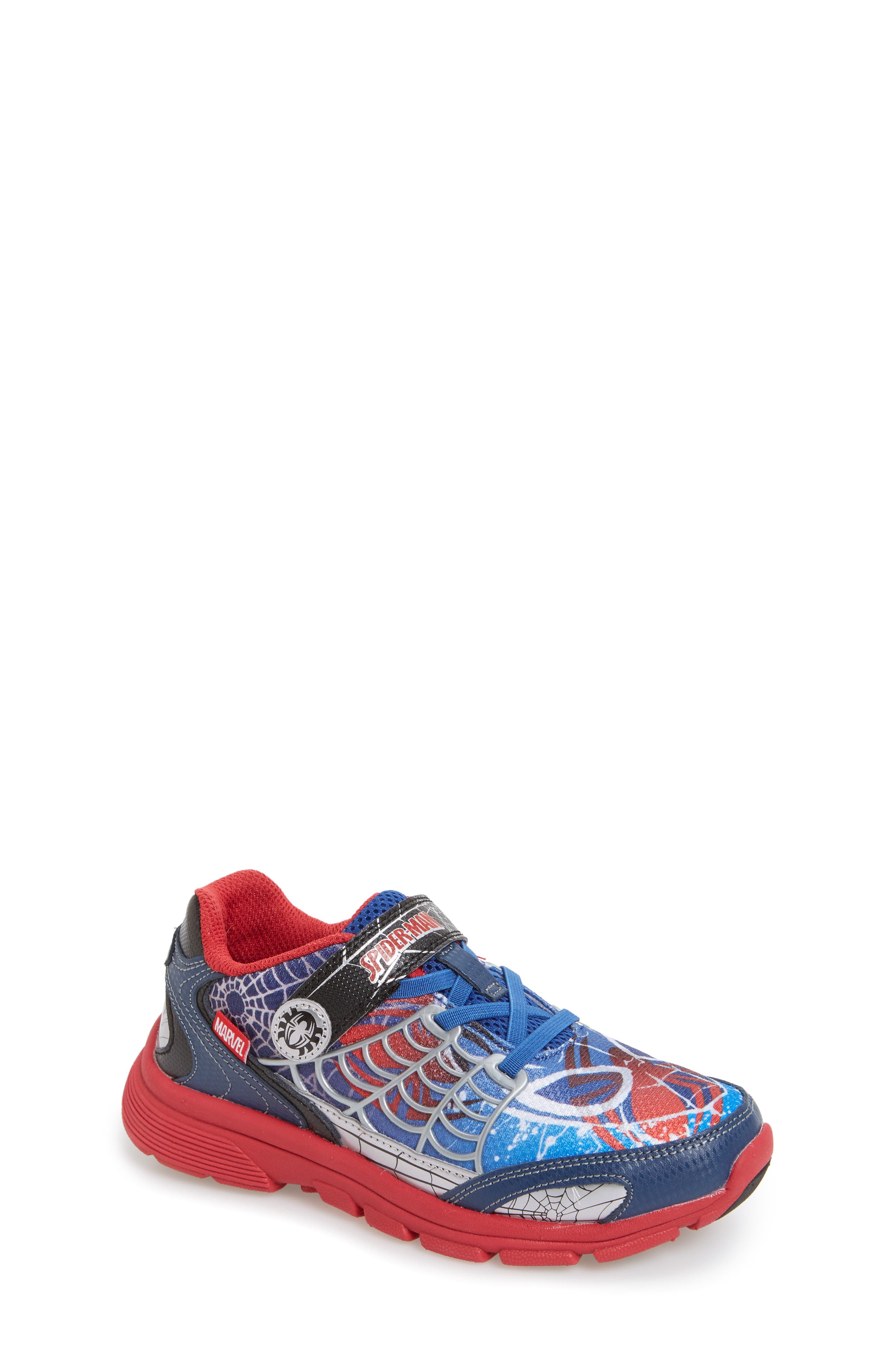 Spidey Sense Light-Up Sneaker,                             Main thumbnail 1, color,                             Blue/ Red
