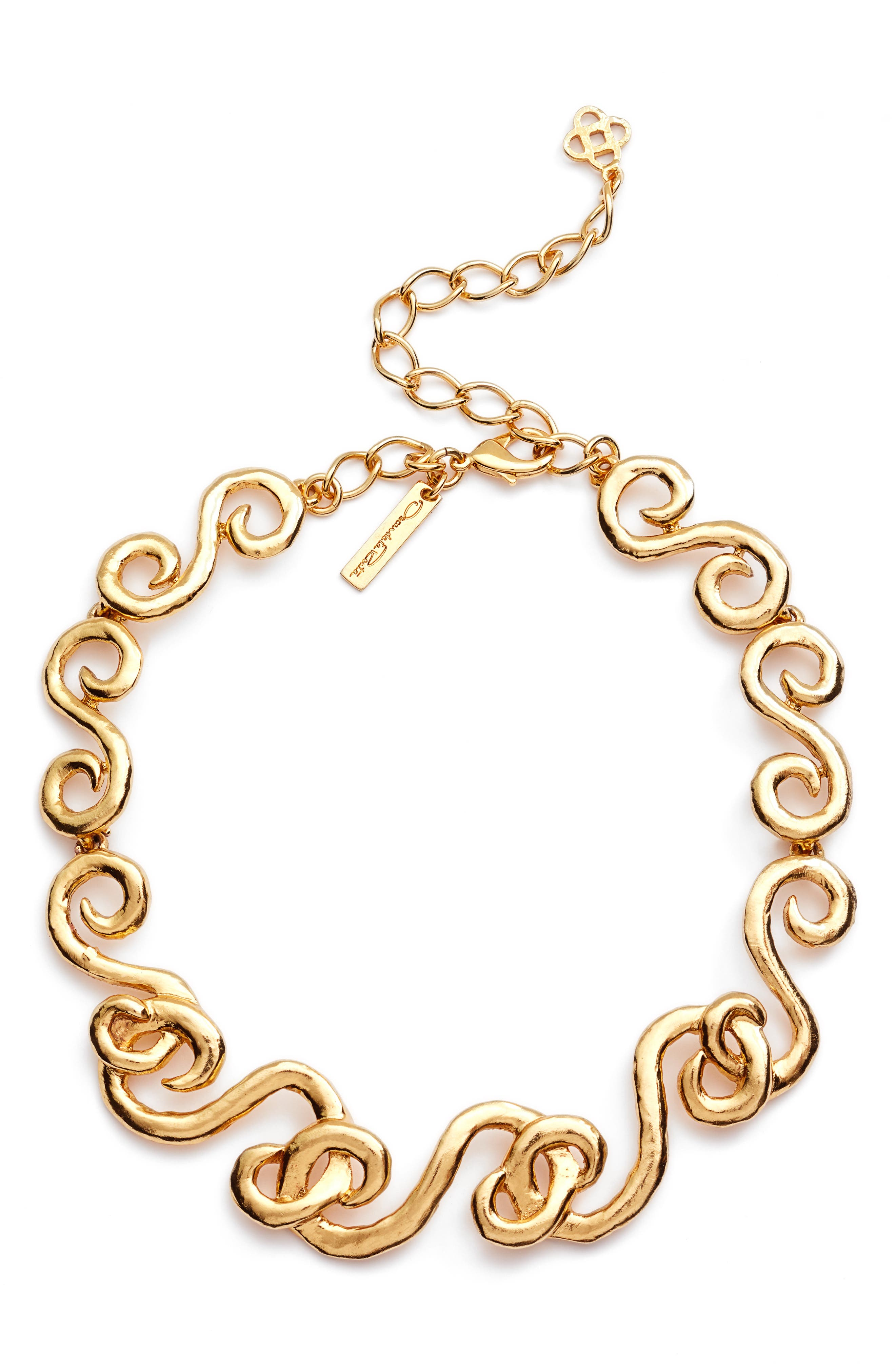 Swirl Necklace,                         Main,                         color, Gold