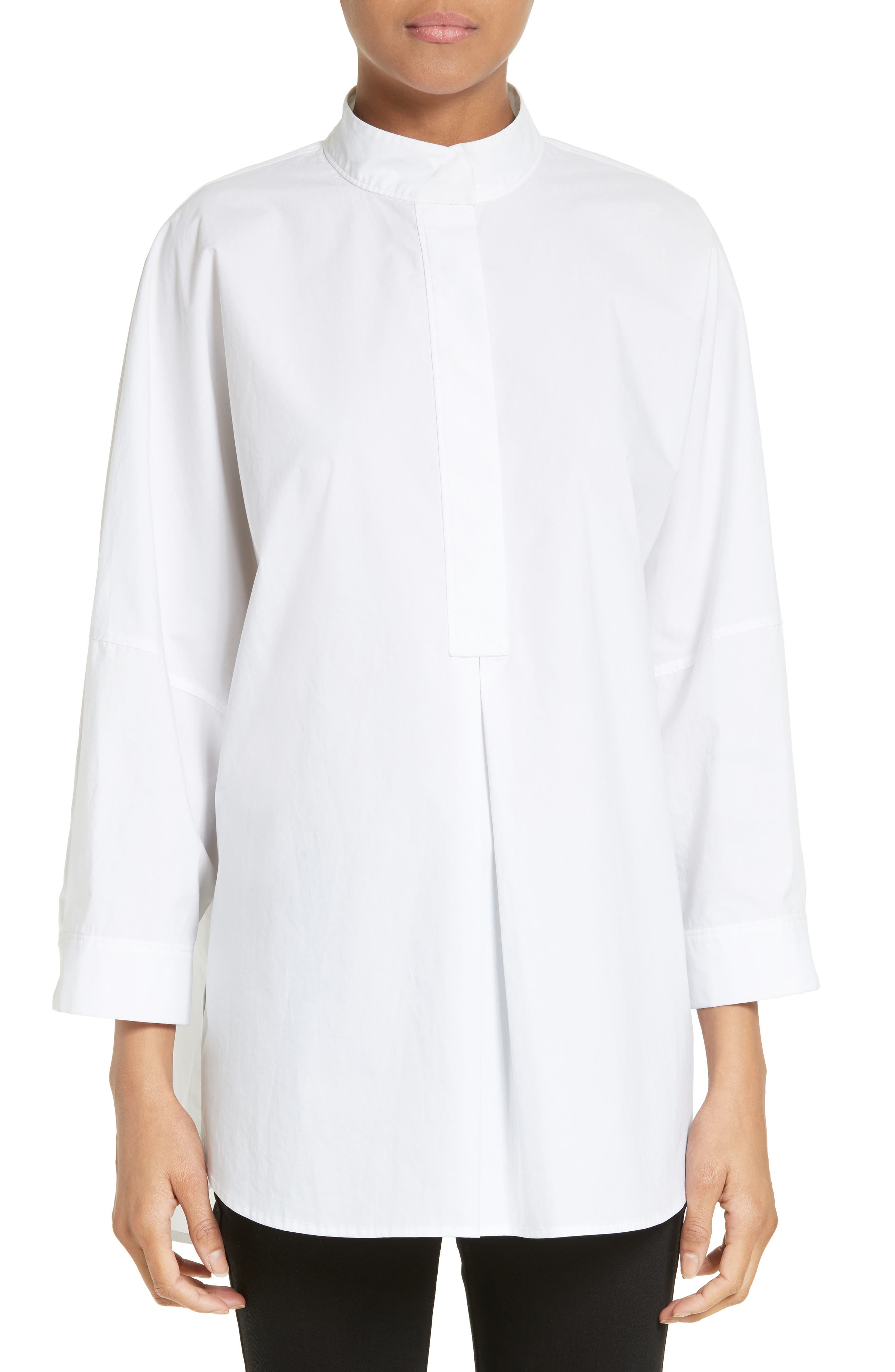 Alternate Image 1 Selected - T by Alexander Wang Mandarin Collar Cotton Poplin Tunic
