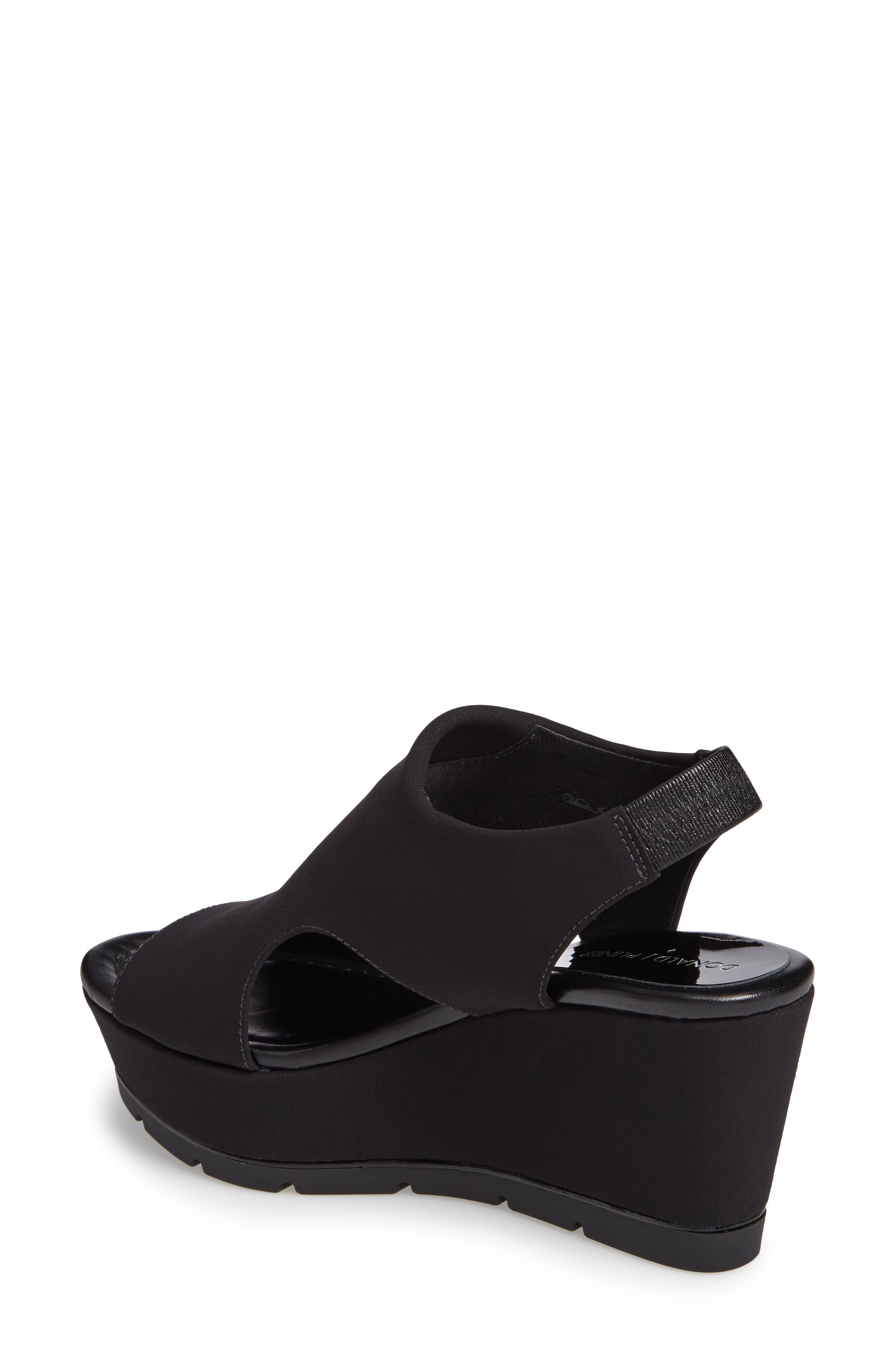 Donald J Pliner Fonda Platform Wedge Sandal,                             Alternate thumbnail 2, color,                             Black Crepe