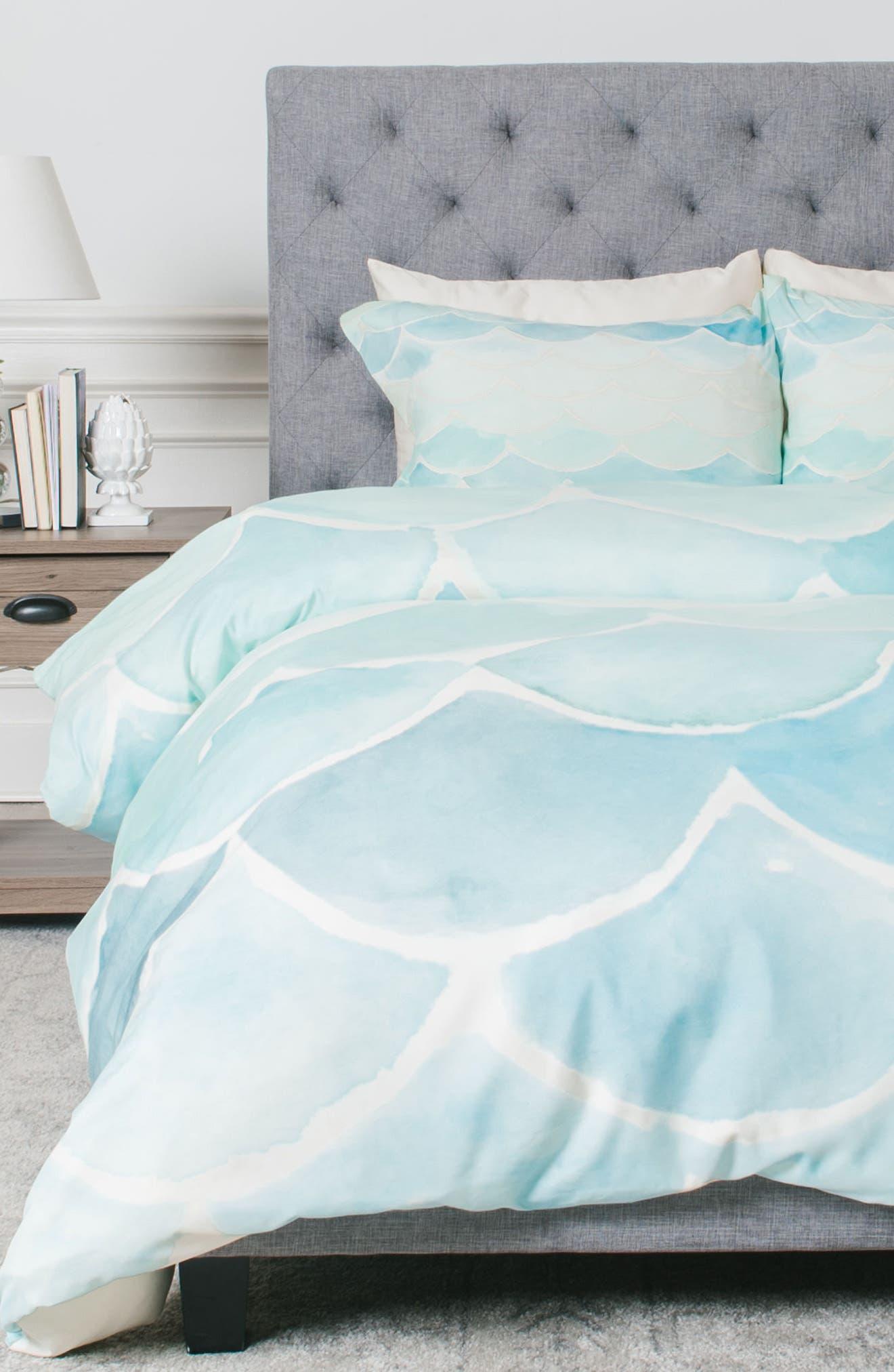 deny designs mermaid scales duvet cover  sham set  nordstrom -