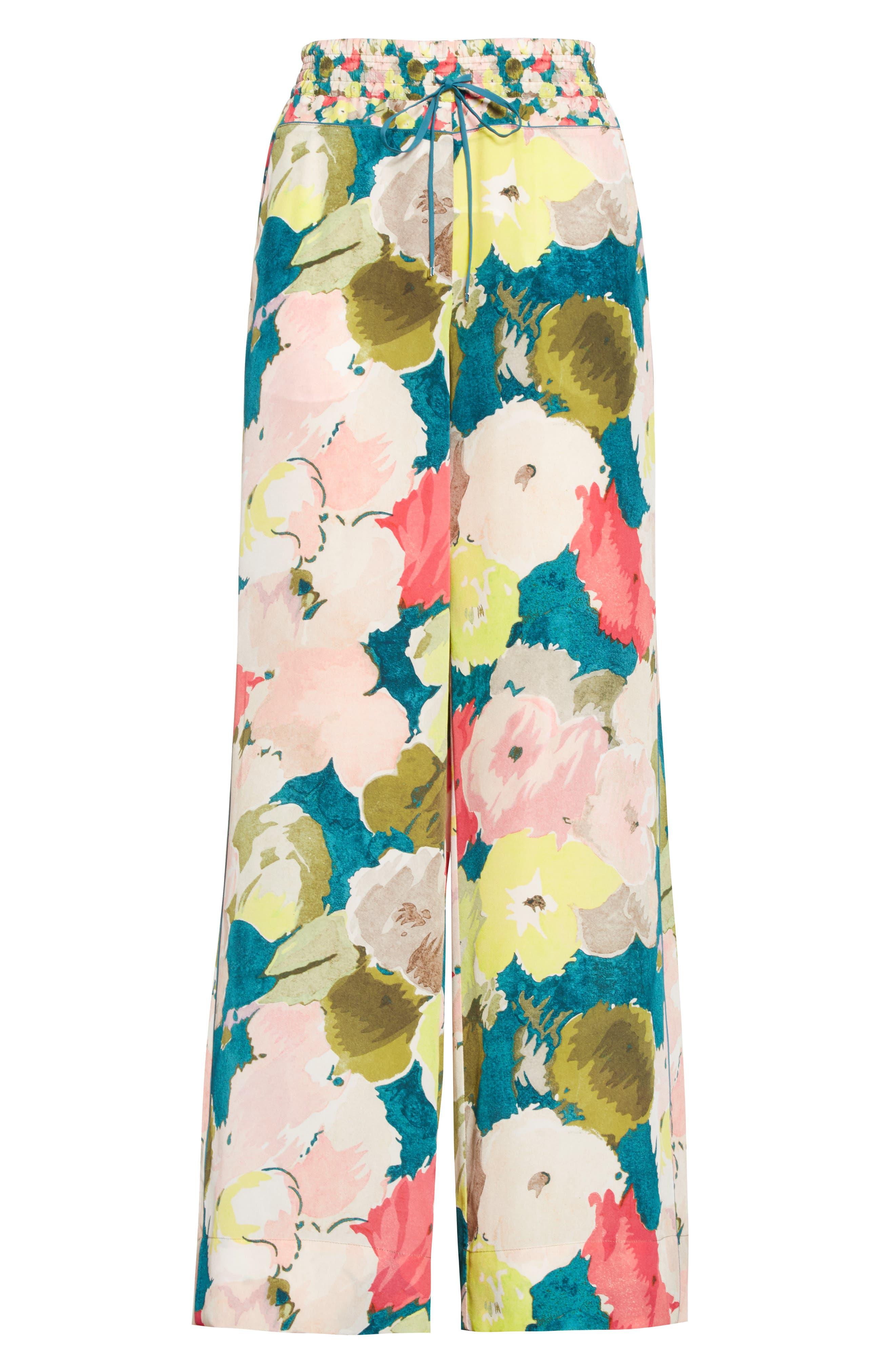 Alternate Image 4  - Lafayette 148 New York Floral Silk Drawstring Pants
