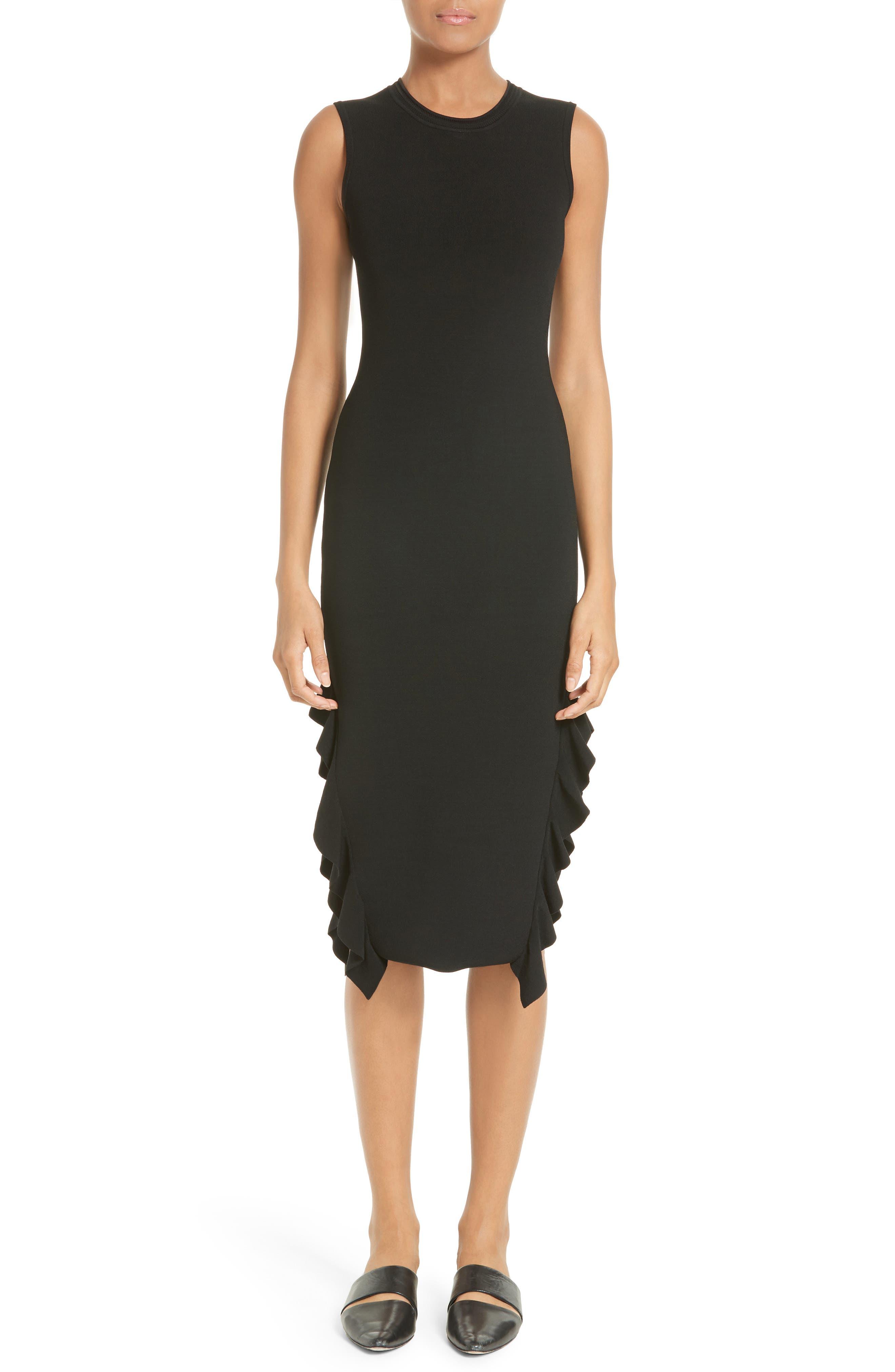 Flounce Hem Dress,                             Main thumbnail 1, color,                             Black