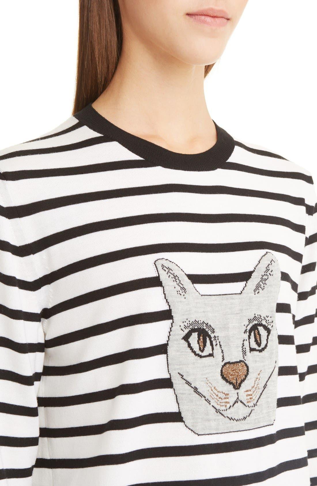 Alternate Image 5  - Loewe Cat Stripe Wool Blend Sweater