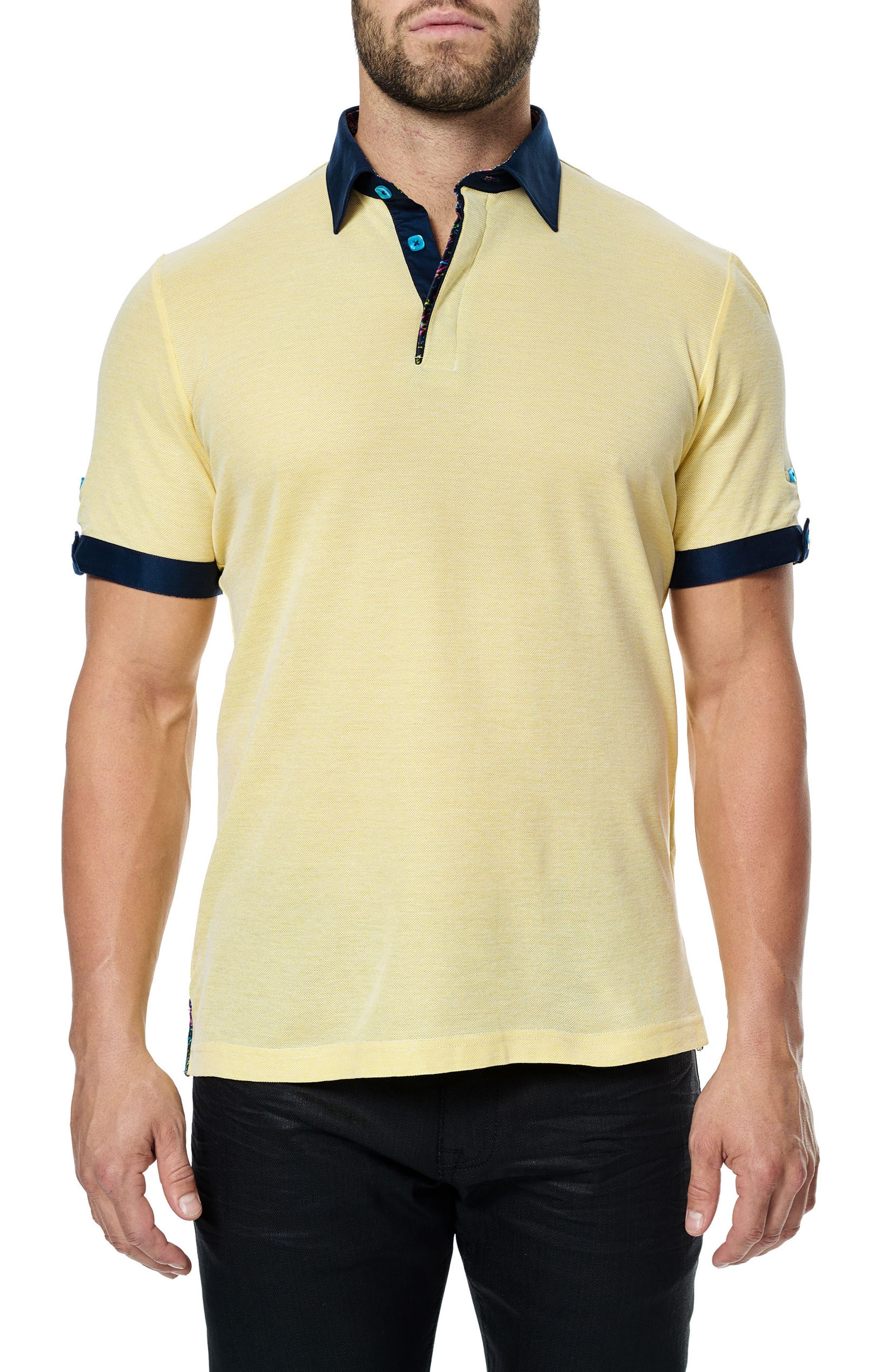 Woven Trim Polo,                         Main,                         color, Yellow