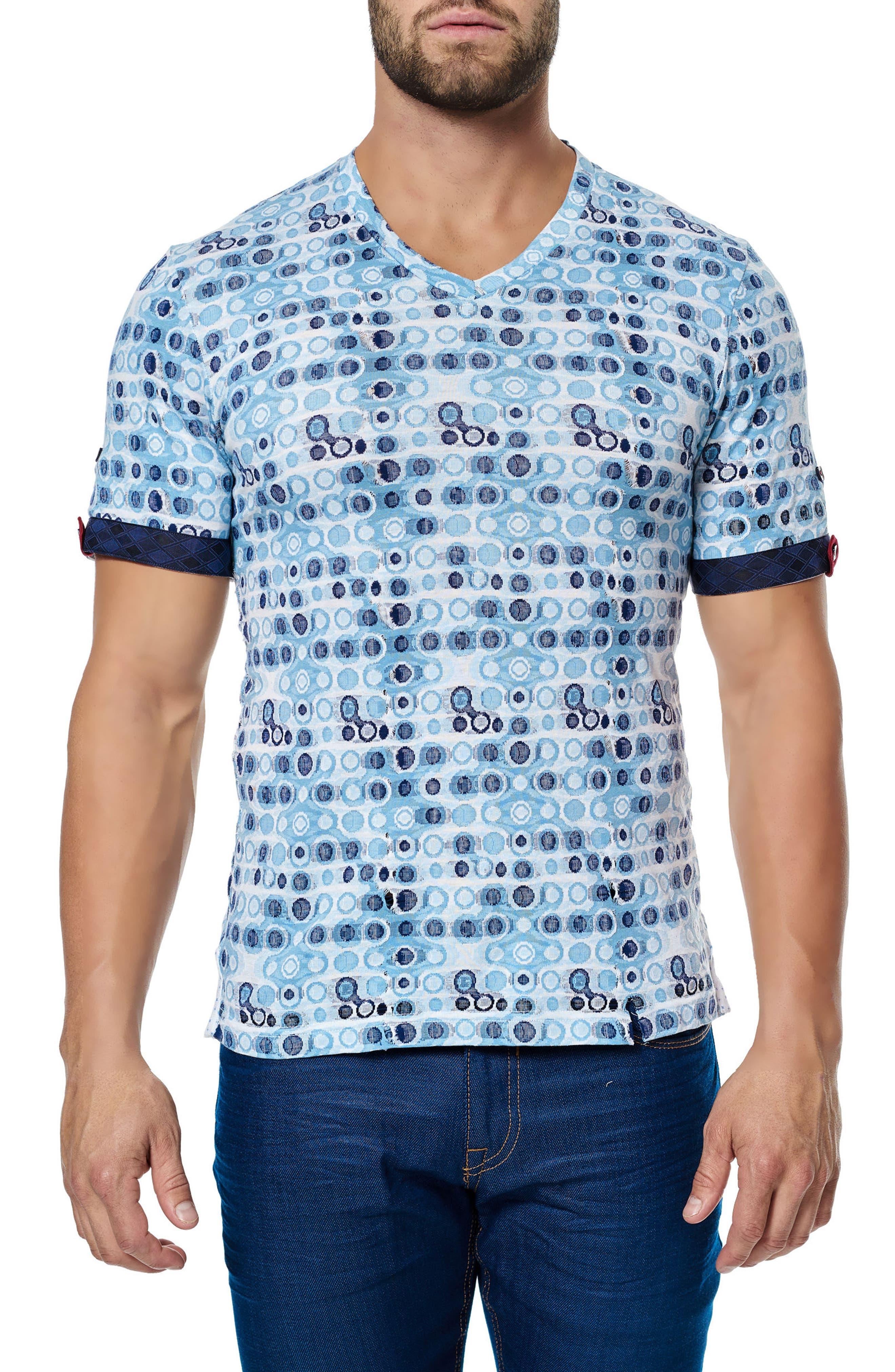 MACEOO Circle Print V-Neck Stretch T-Shirt