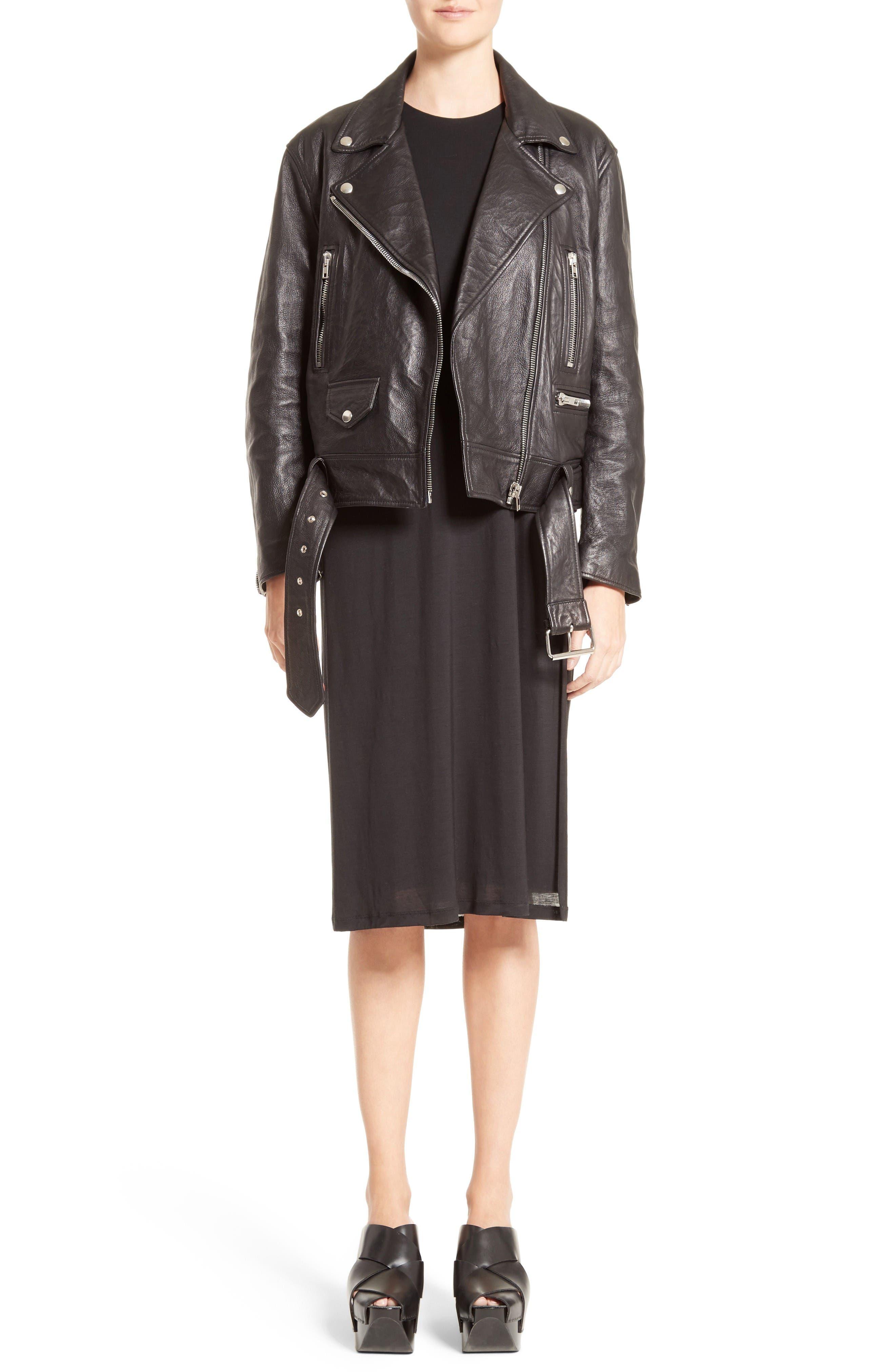 Merlyn Leather Jacket,                             Alternate thumbnail 6, color,                             Black