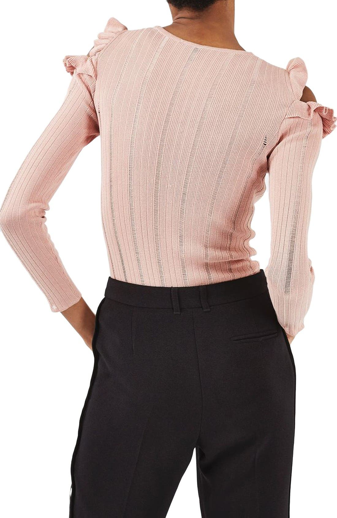 Alternate Image 3  - Topshop Ruffle Cold Shoulder Sweater