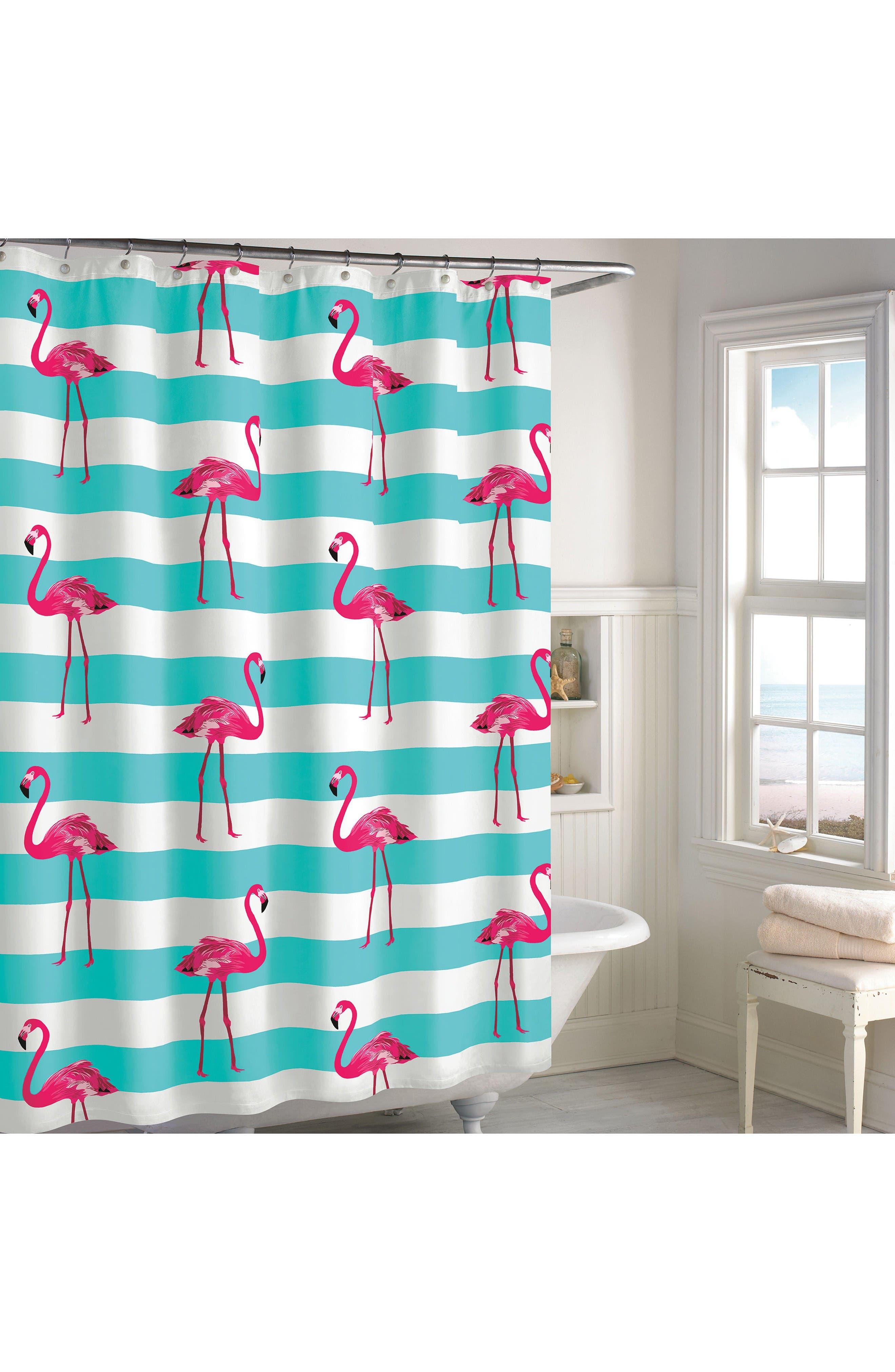 Pink Flamingo Shower Curtain,                             Main thumbnail 1, color,                             Aqua/ Pink