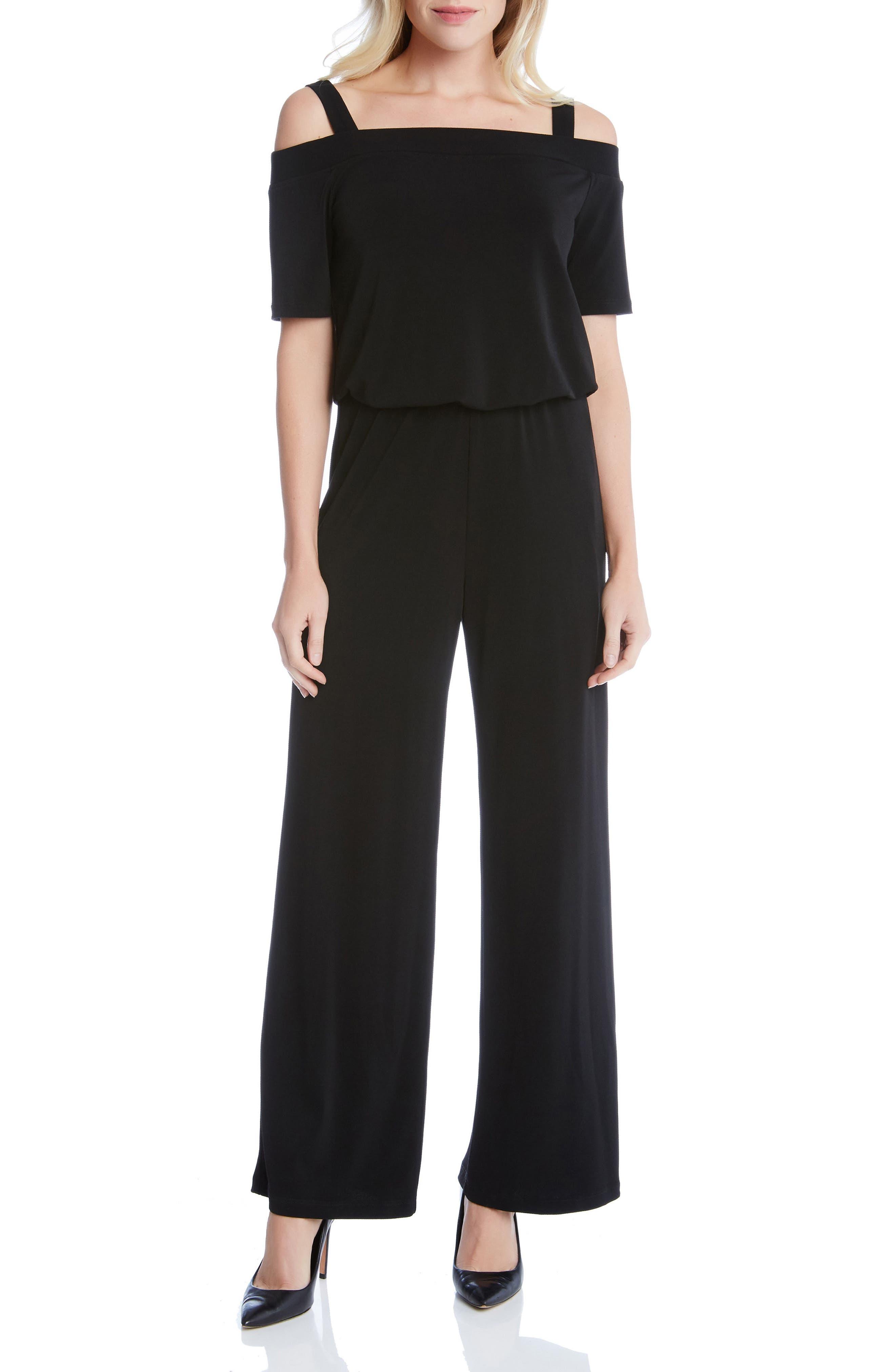 Convertible Off the Shoulder Jumpsuit,                         Main,                         color, Black