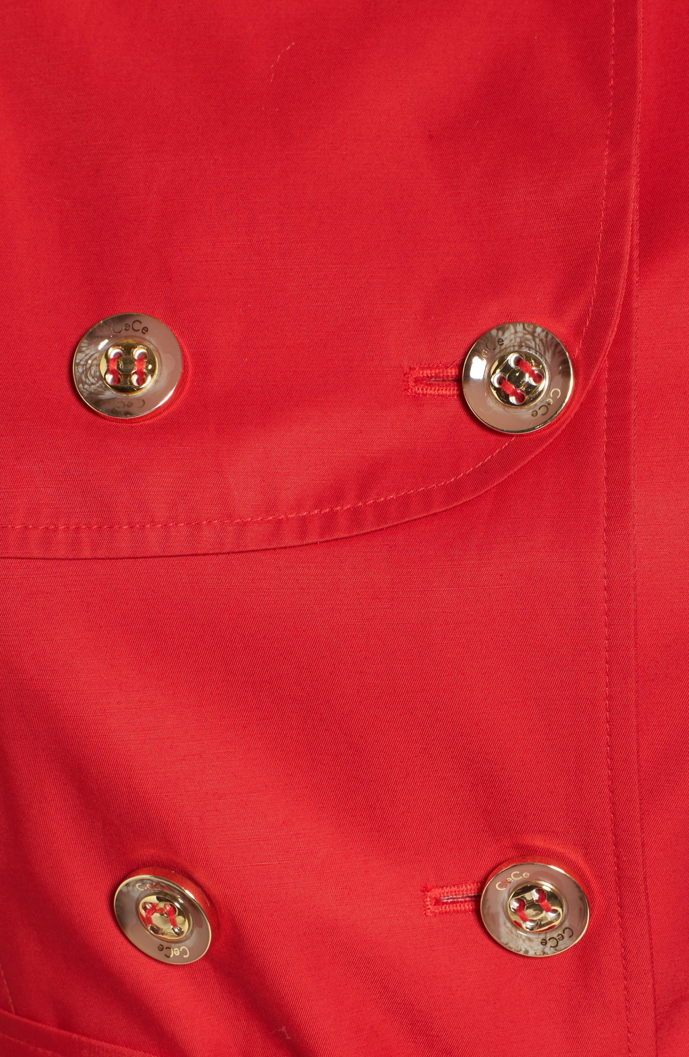 Alternate Image 5  - CeCe Angelina Tulip Hem Trench Coat (Regular & Petite)