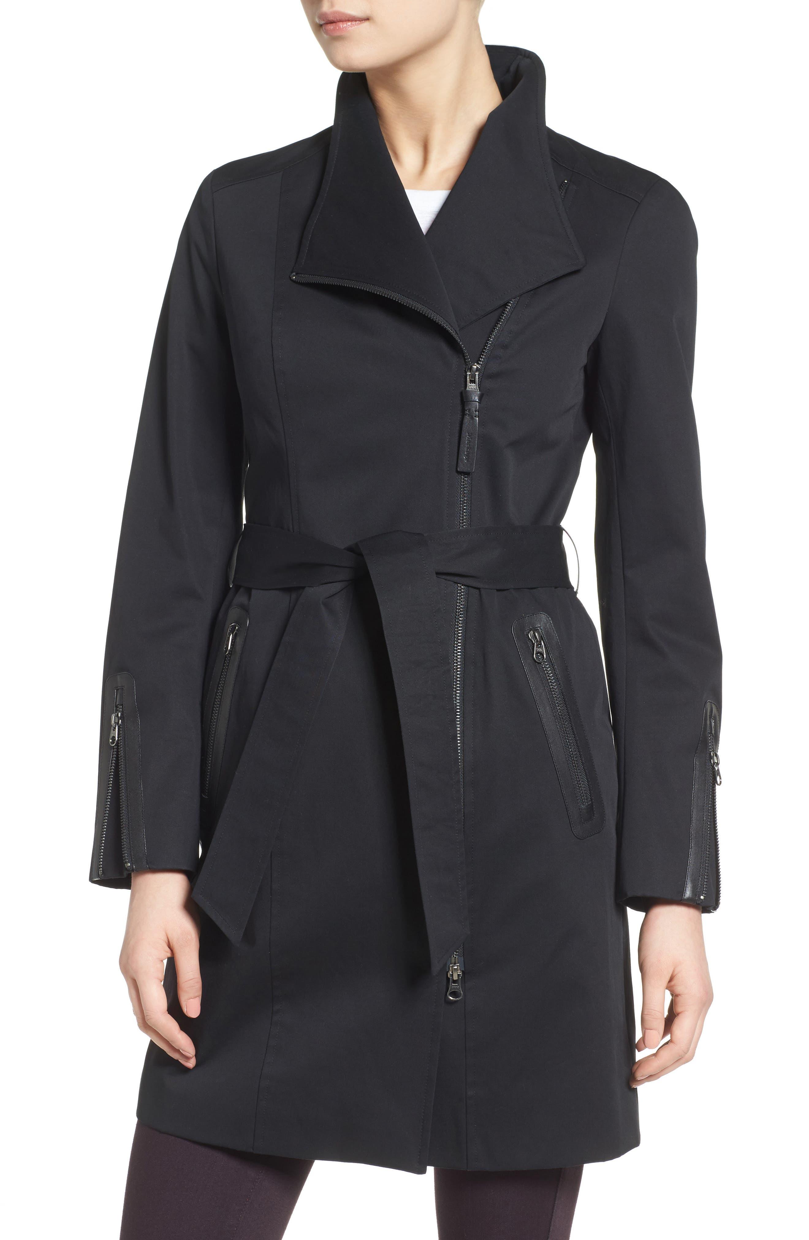 Estela Belted Long Trench Coat,                             Alternate thumbnail 4, color,                             Black