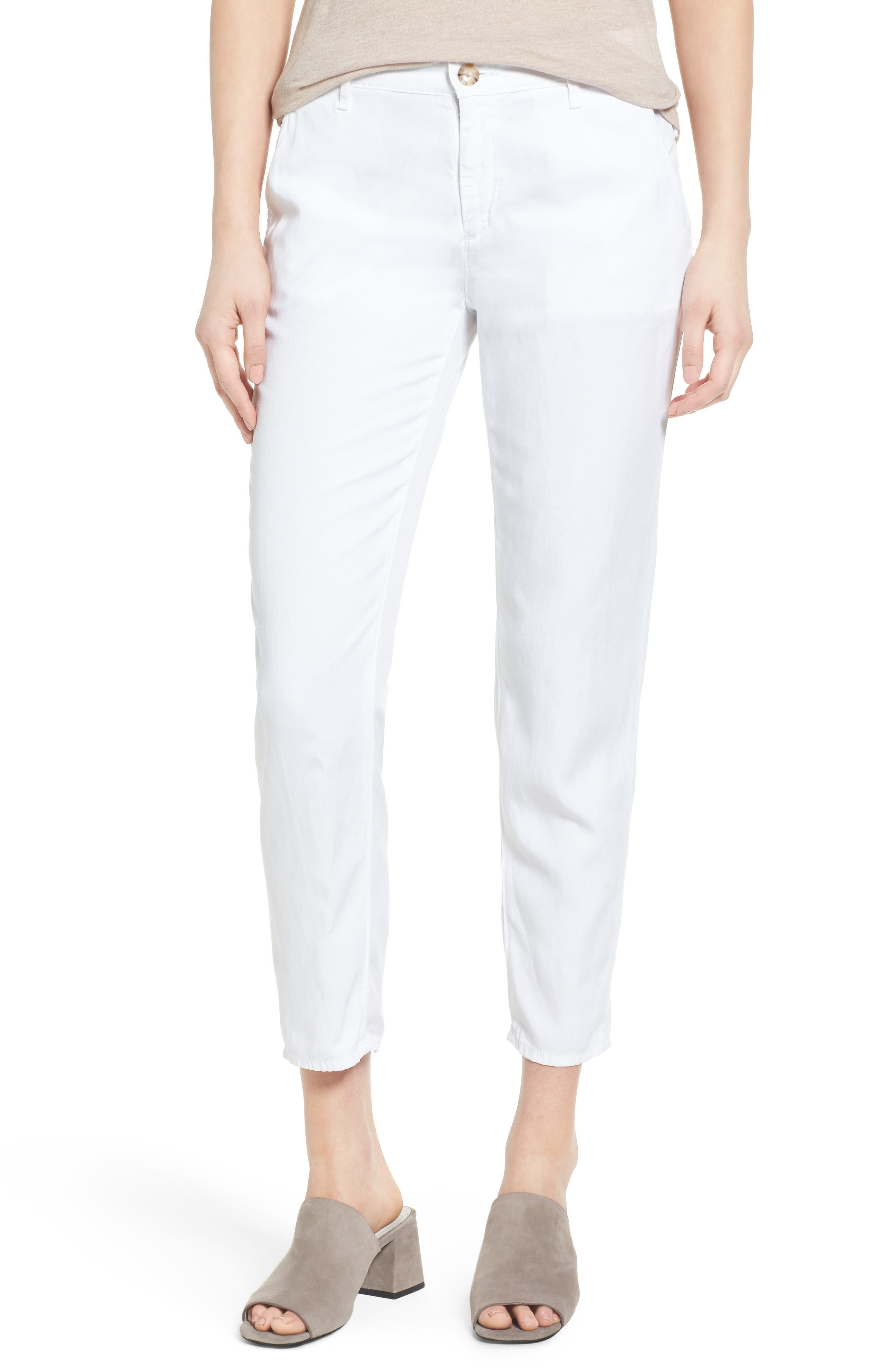 The Caden Crop Slim Trousers,                         Main,                         color, White
