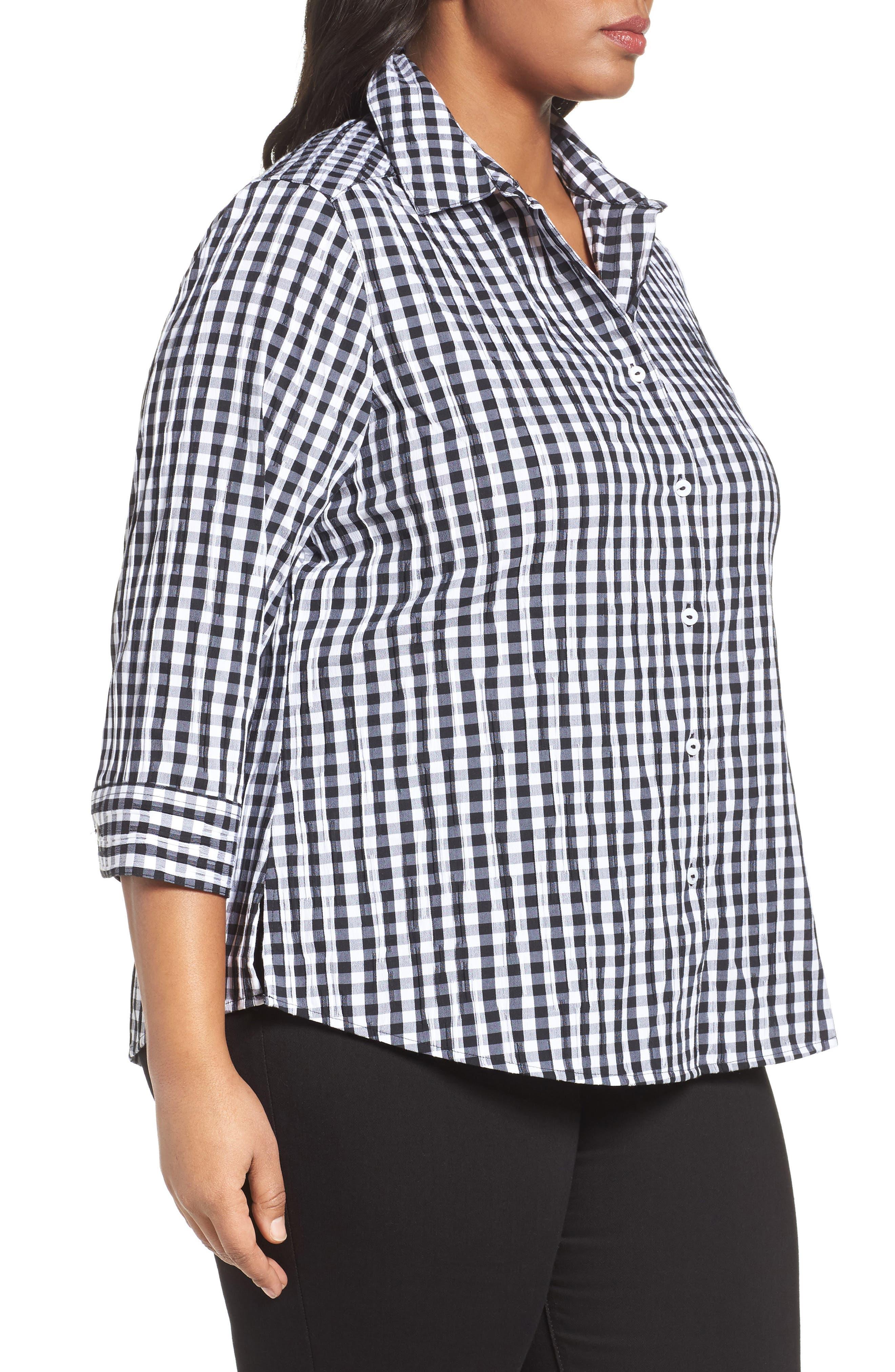 Alternate Image 3  - Foxcroft Gingham Shirt (Plus Size)