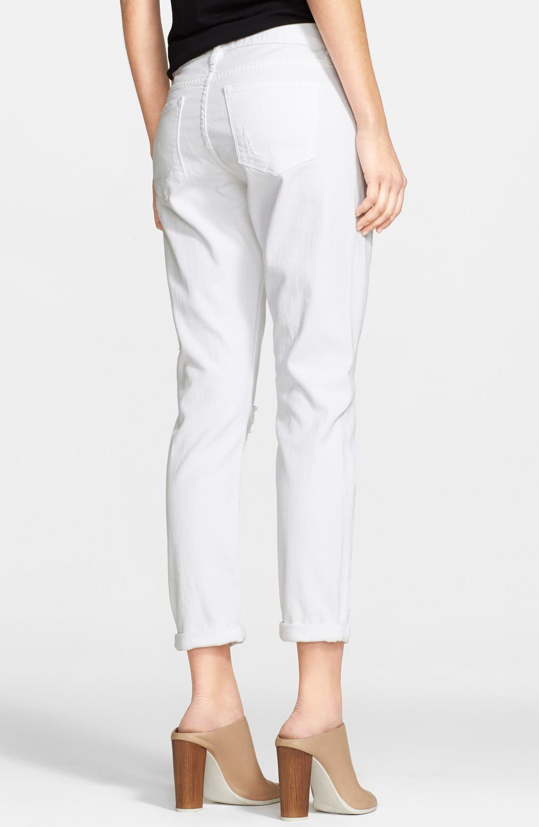 Alternate Image 2  - Frame Denim 'Le Garcon' Destroyed Slim Boyfriend Jeans (Rip Blanc)