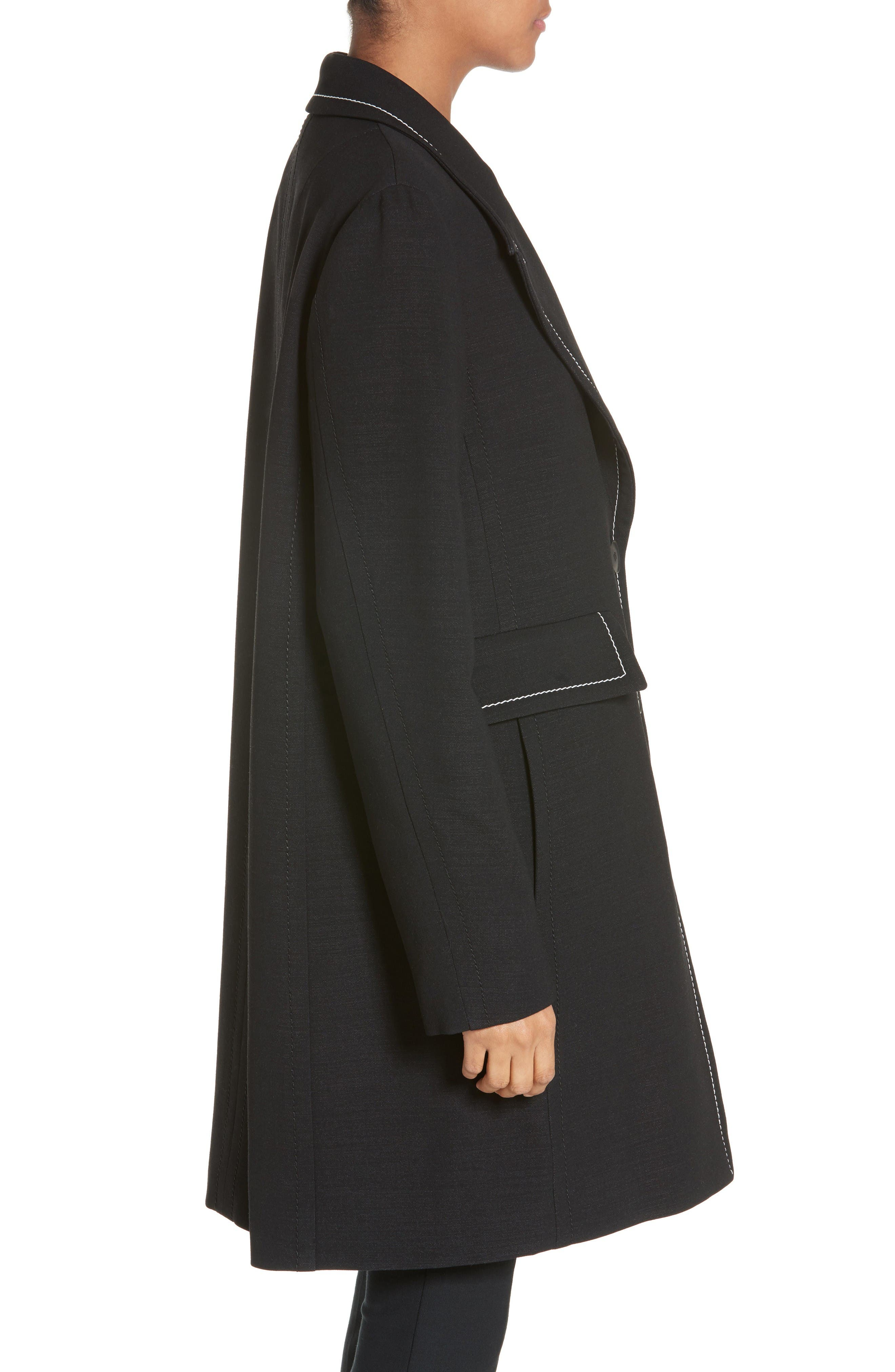Marcelline Topstitch Double Face Wool Coat,                             Alternate thumbnail 5, color,                             Black/ Mistletoe