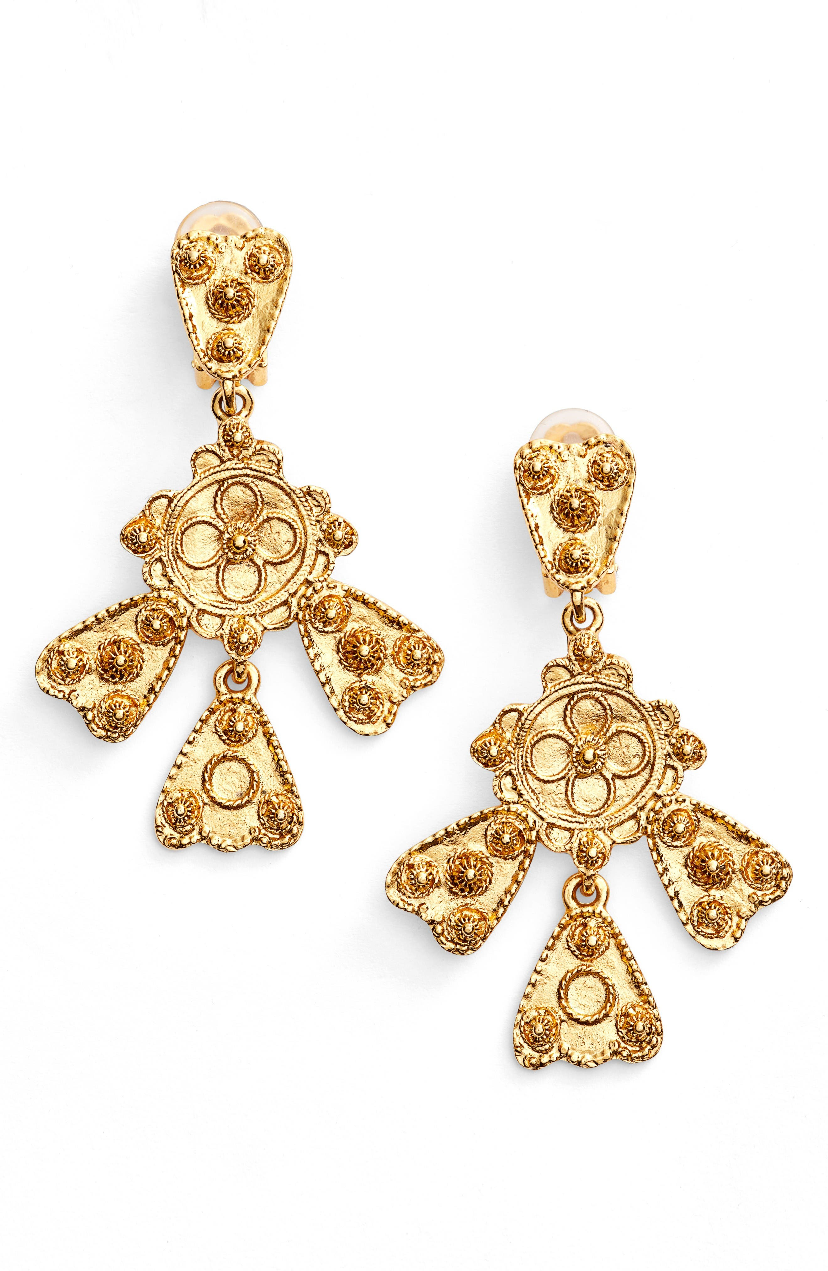 Oscar de la Renta Charm Clip Earrings