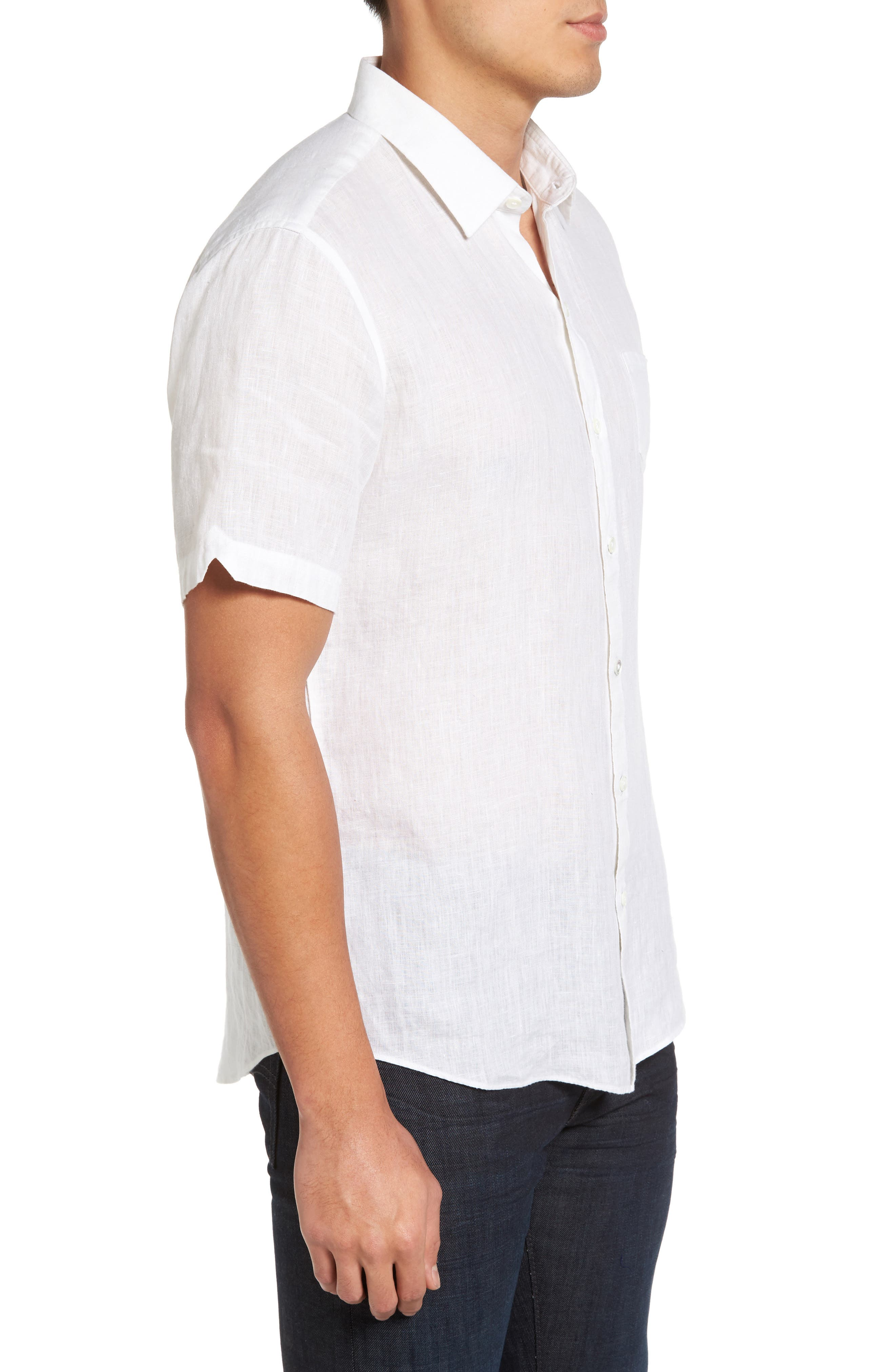 Kaplan Slim Fit Linen Sport Shirt,                             Alternate thumbnail 4, color,                             White