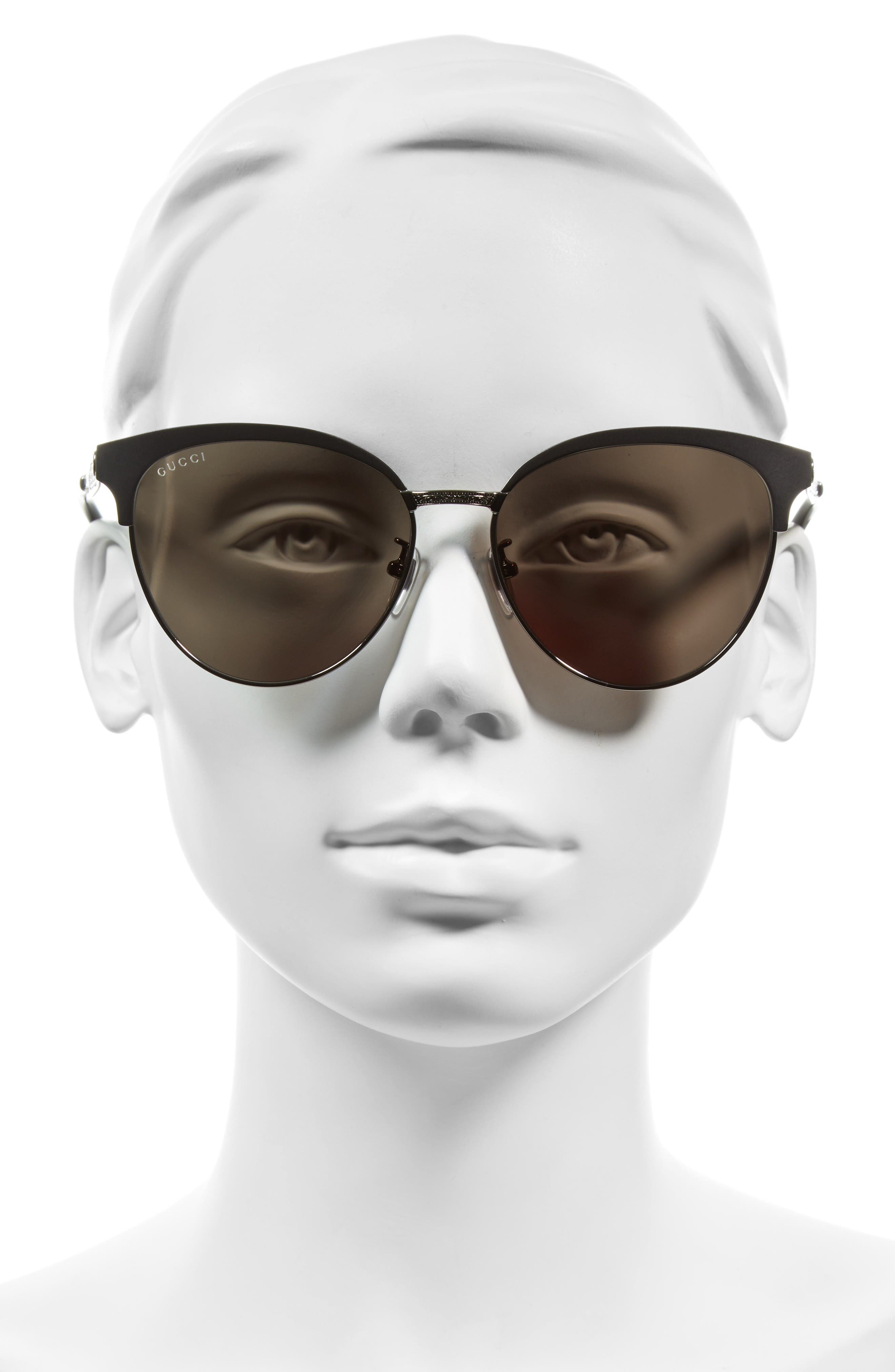 57mm Retro Sunglasses,                             Alternate thumbnail 2, color,                             Ruthenium/ Green