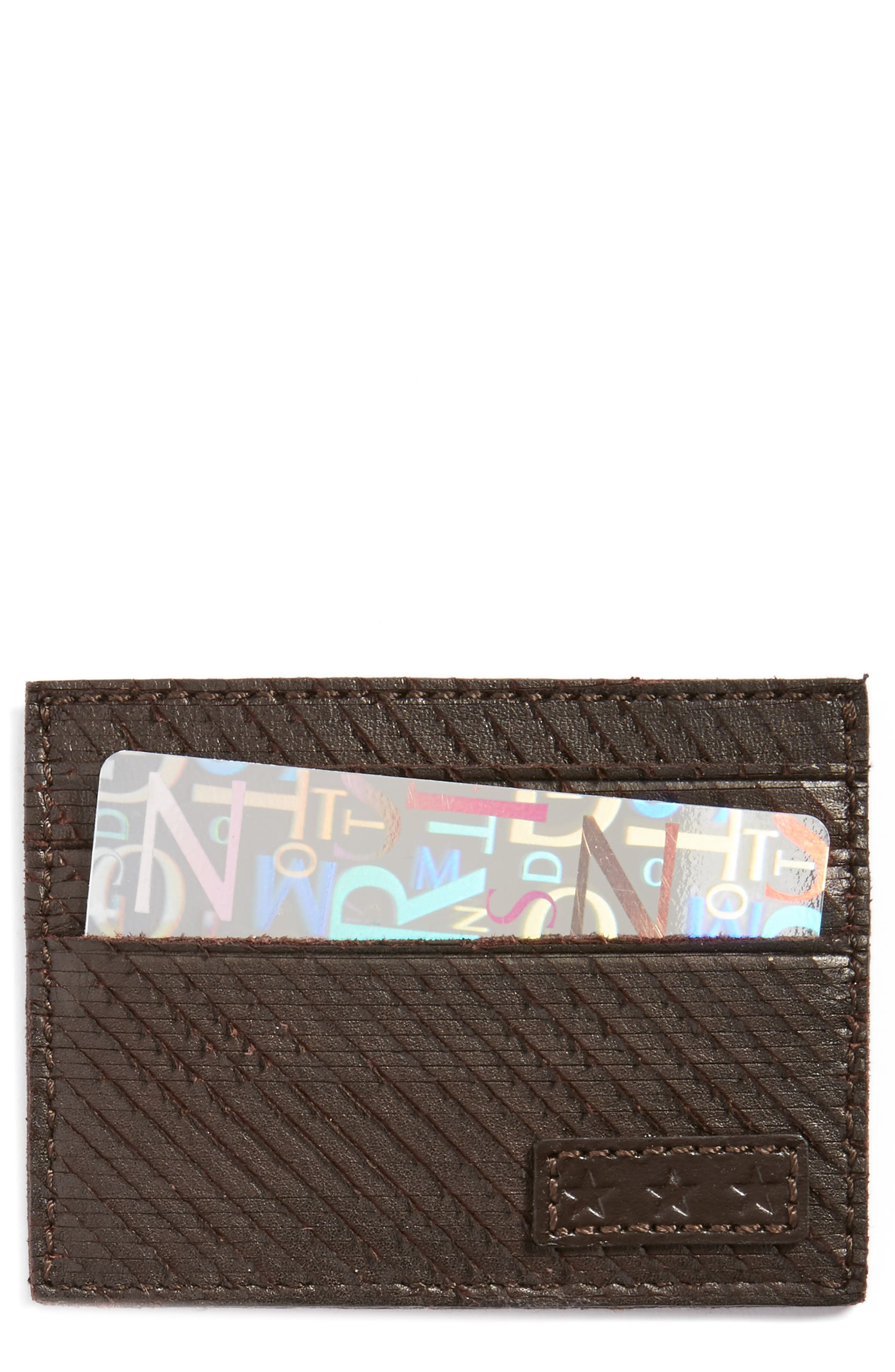 Leather Card Case,                             Main thumbnail 1, color,                             Chocolate