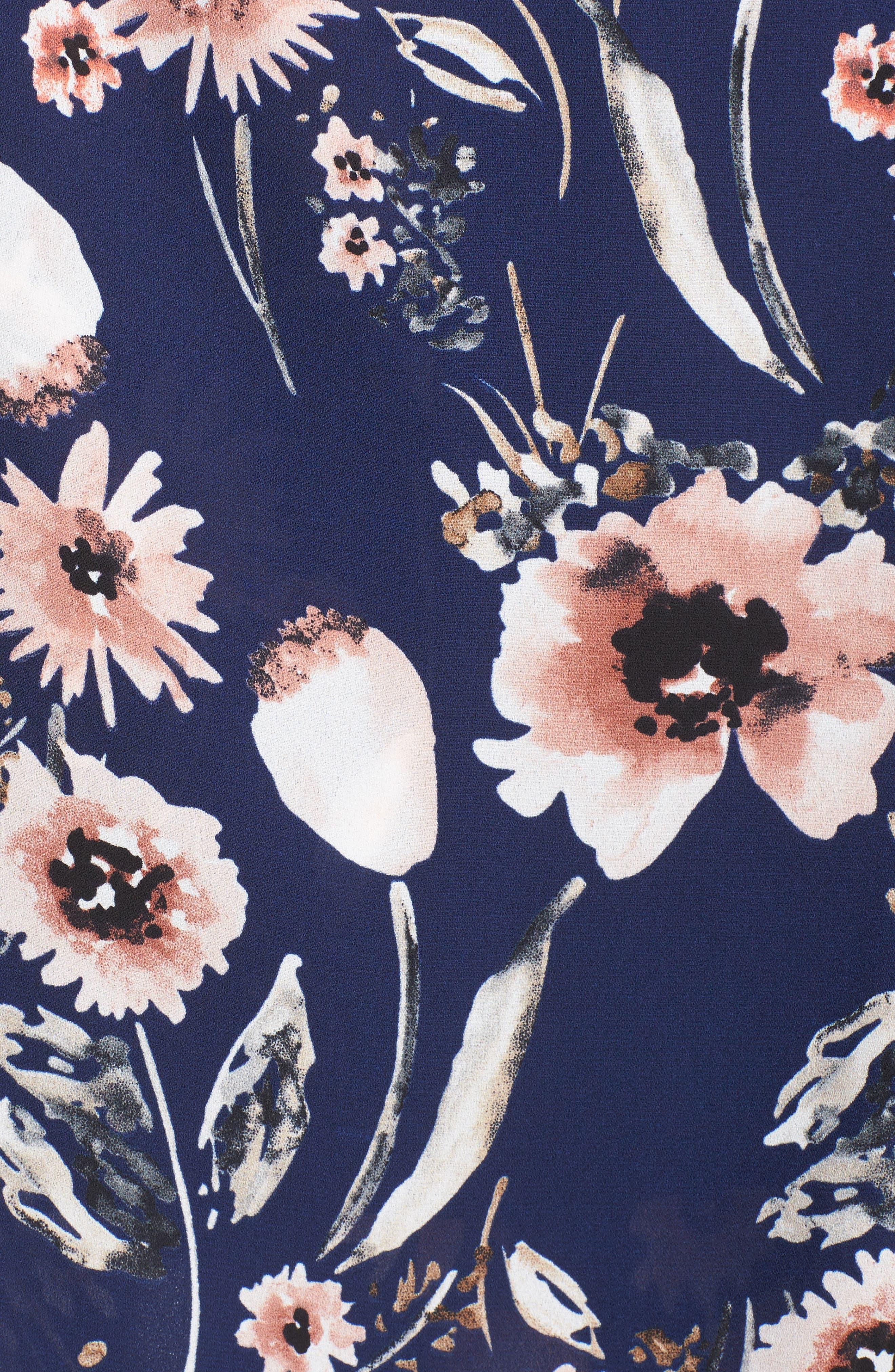 Wide Leg Pants,                             Alternate thumbnail 5, color,                             Navy Medieval Multi Floral