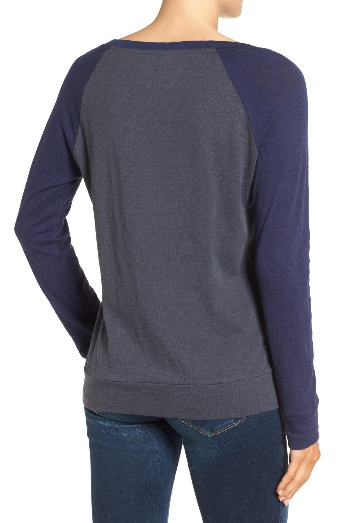 Lightweight Colorblock Cotton Tee,                             Alternate thumbnail 2, color,                             Grey- Navy Colorblock