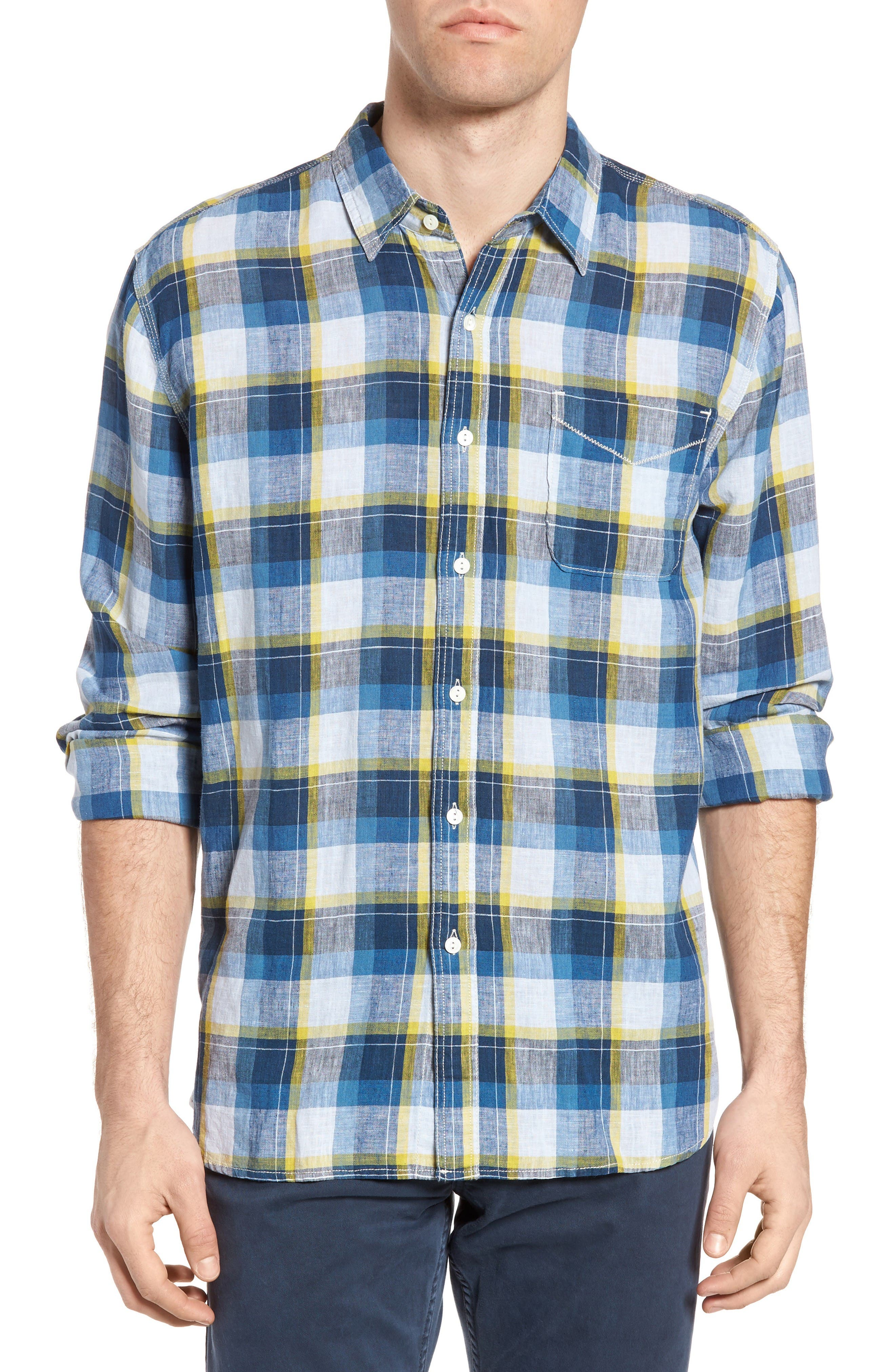 Plaid Sport Shirt,                         Main,                         color, Denim
