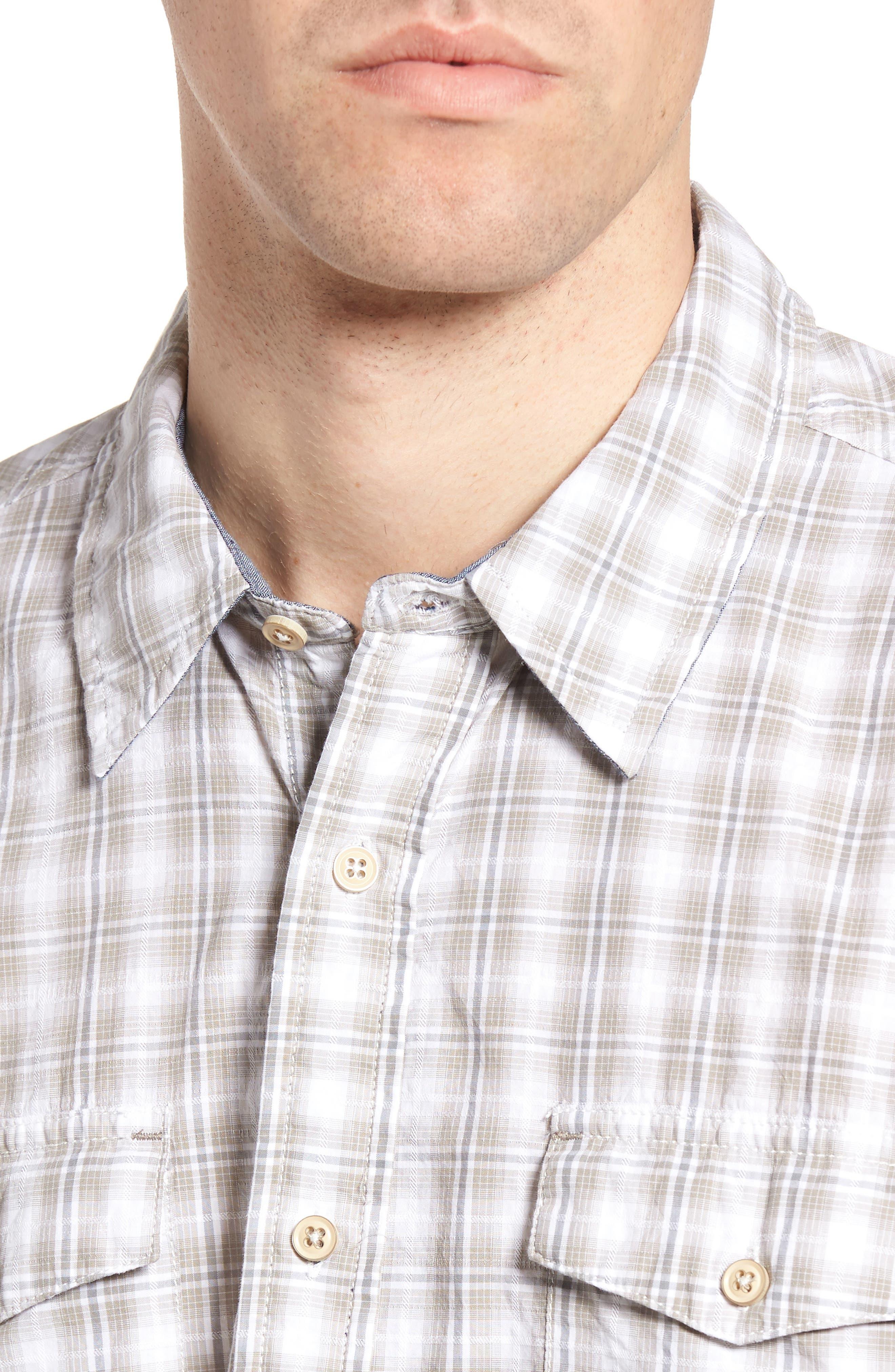 Soho Plaid Cotton Sport Shirt,                             Alternate thumbnail 4, color,                             Grey