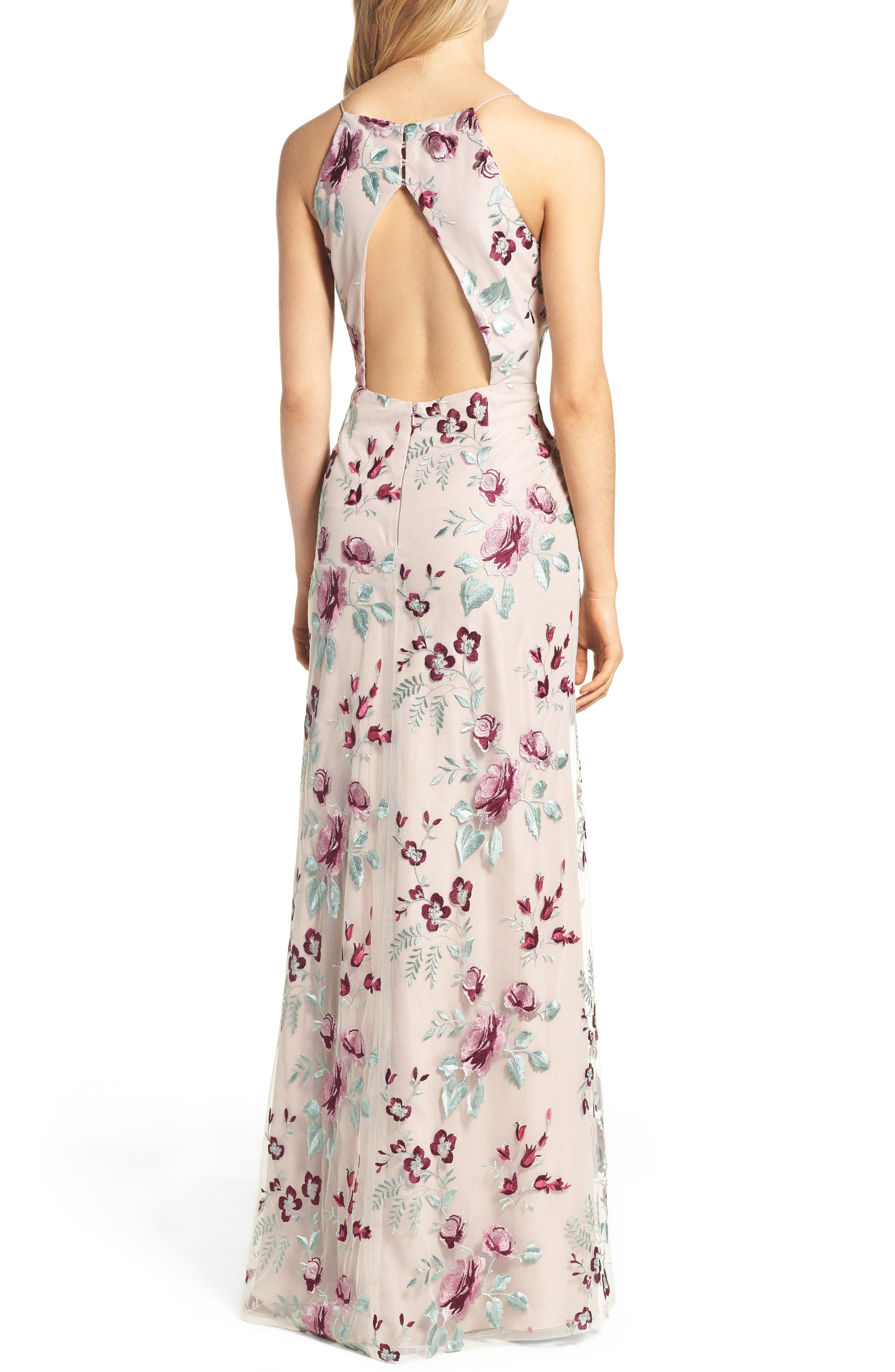 Claire Floral Embroidered Gown,                             Alternate thumbnail 2, color,                             Berry Vintage Iris