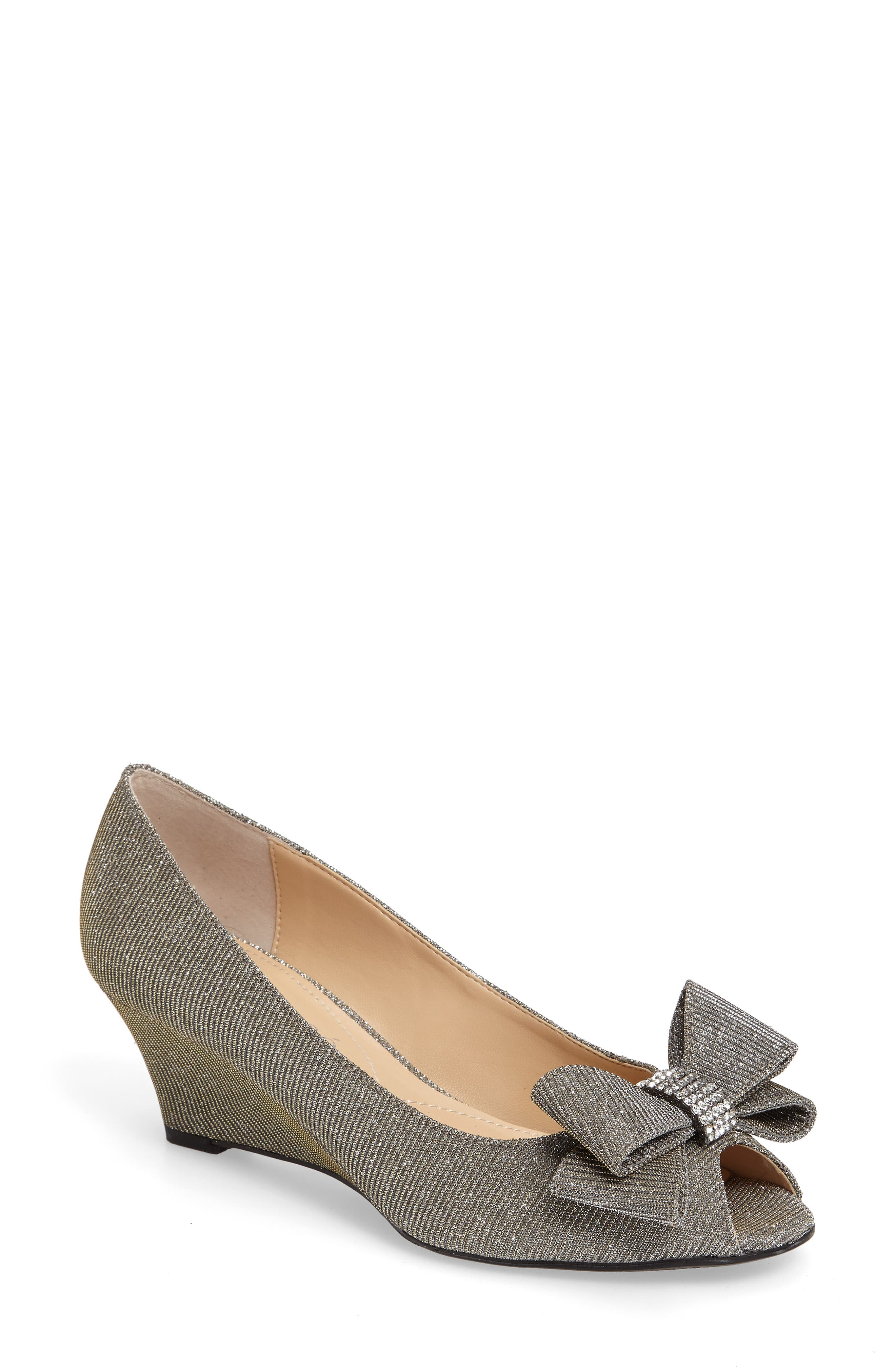 Alternate Image 1 Selected - J. Reneé 'Blare' Bow Wedge Peep Toe Pump (Women)