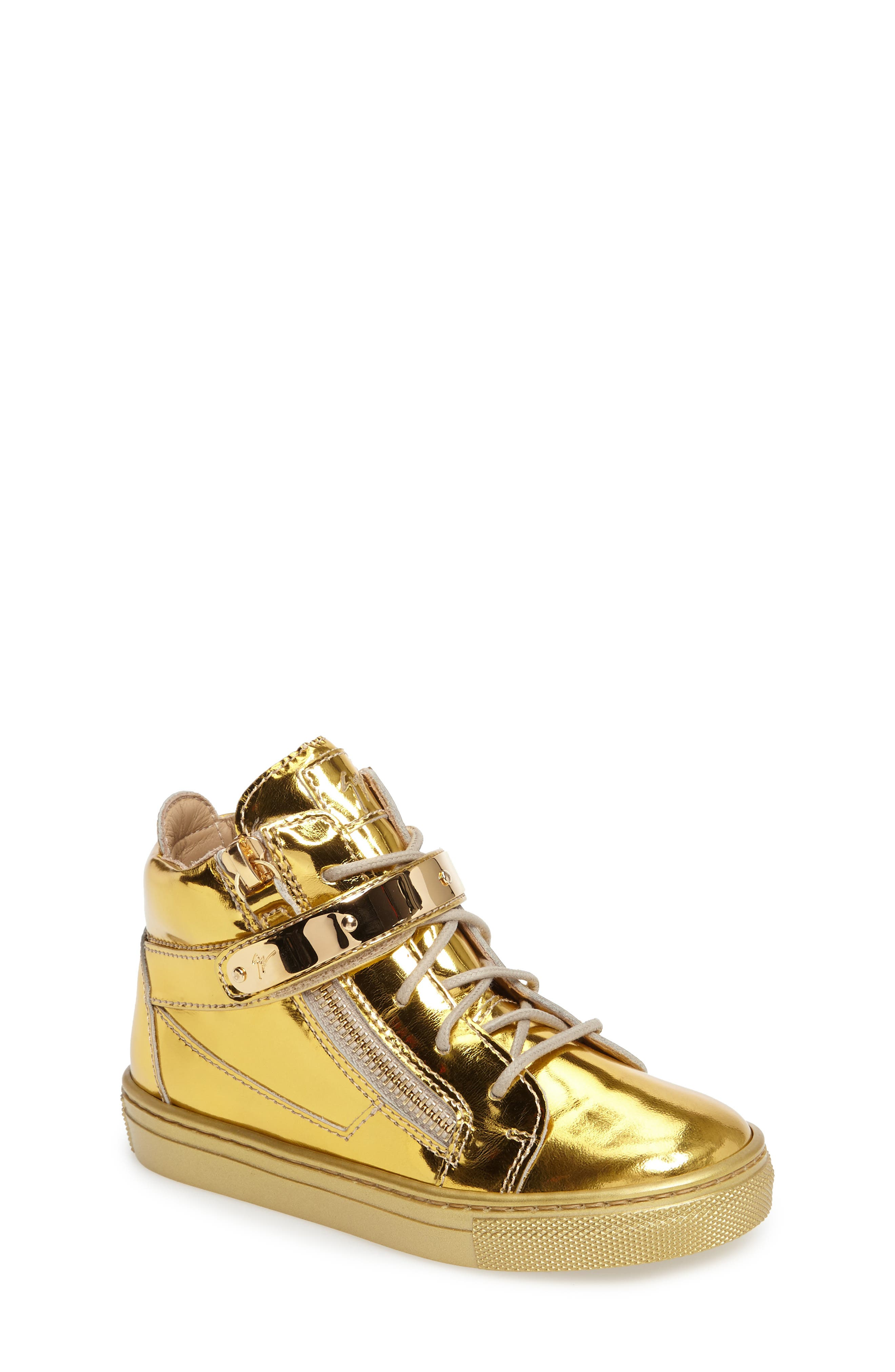 High Top Sneaker,                             Main thumbnail 1, color,                             Gold