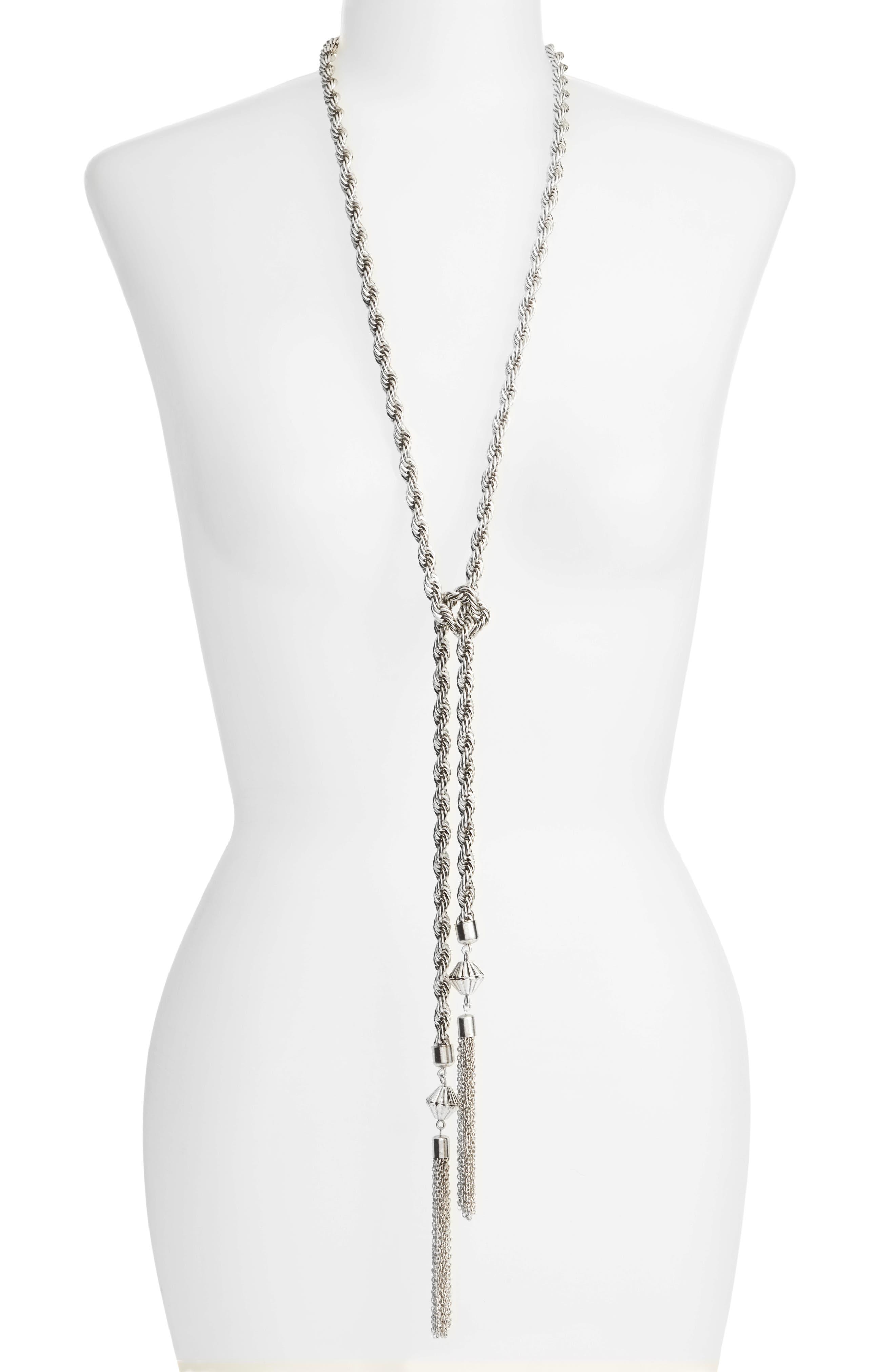 Tassel Necklace,                         Main,                         color, Silver