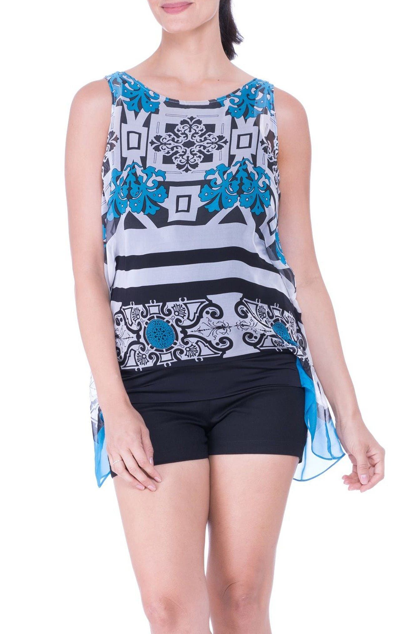 High/Low Maternity Tank,                         Main,                         color, Blue