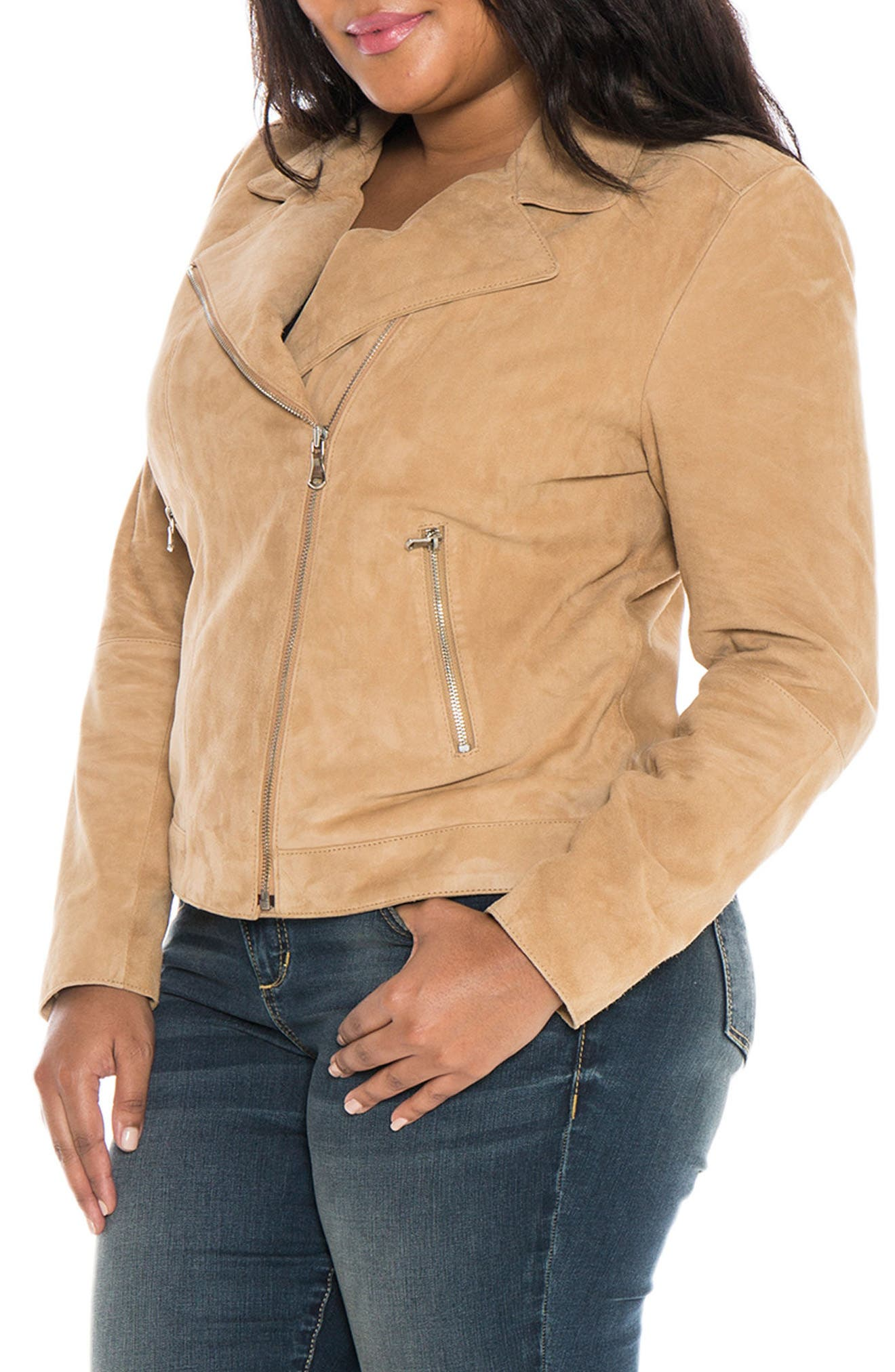 Canyon Suede Jacket,                             Alternate thumbnail 3, color,                             Sand