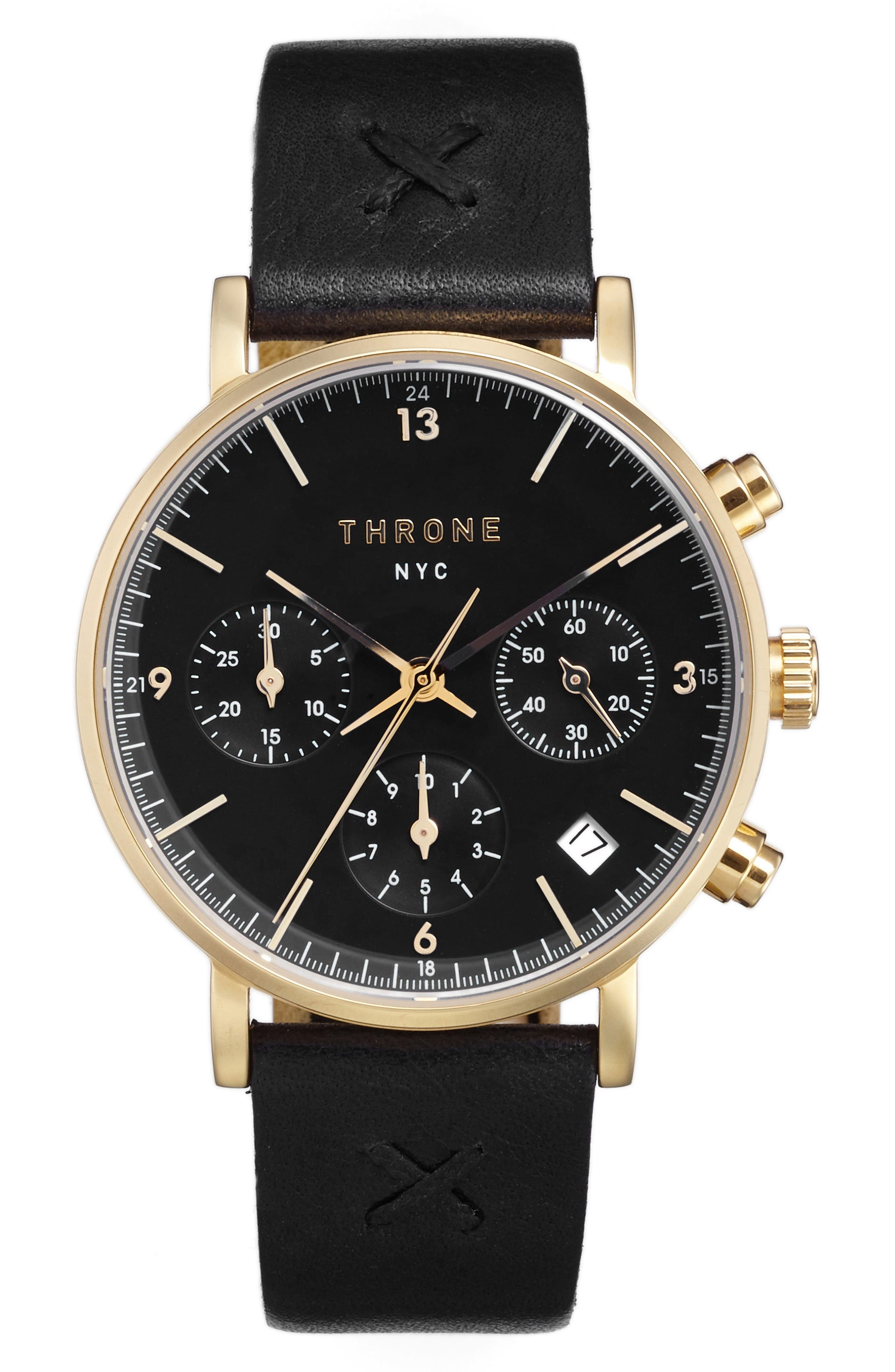 THRONE 2.0 Chronograph Leather Strap Watch, 40mm