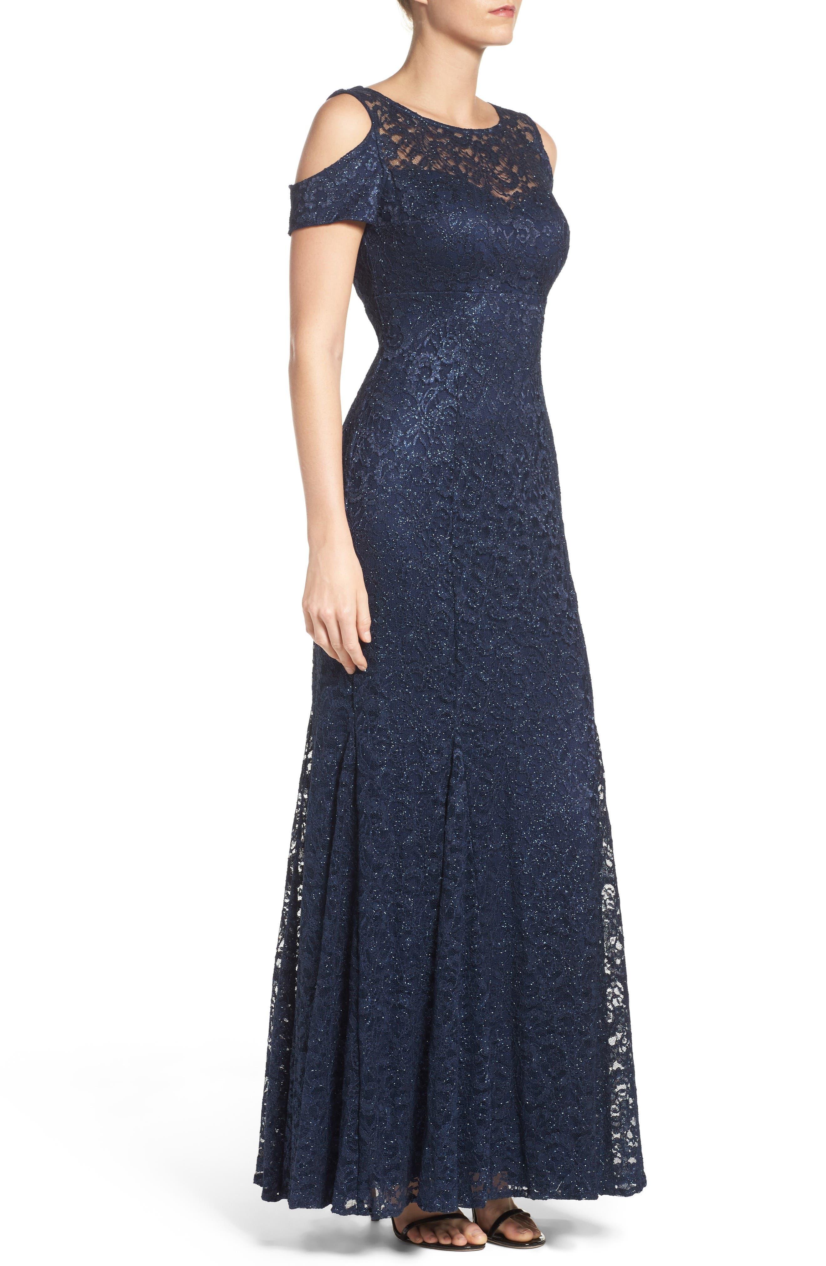 Cold Shoulder Lace Gown,                             Alternate thumbnail 3, color,                             Navy