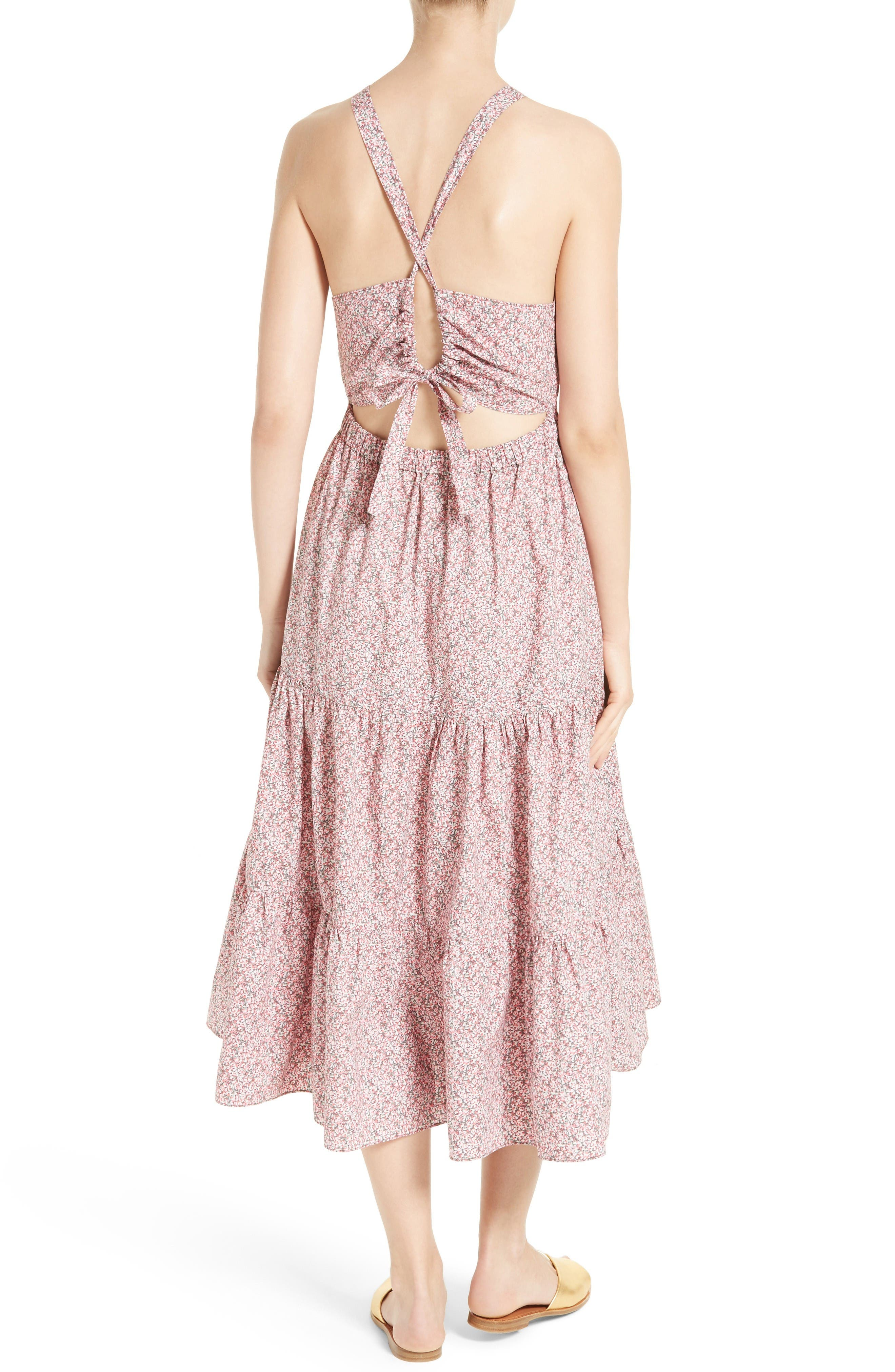 Alternate Image 2  - La Vie Rebecca Taylor Meadow Floral Tie Back Tiered Sundress