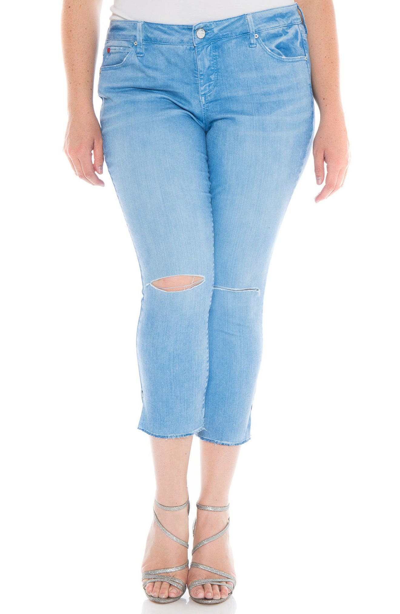 Fray Hem Ripped Crop Skinny Jeans,                             Main thumbnail 1, color,                             Heritage Blue