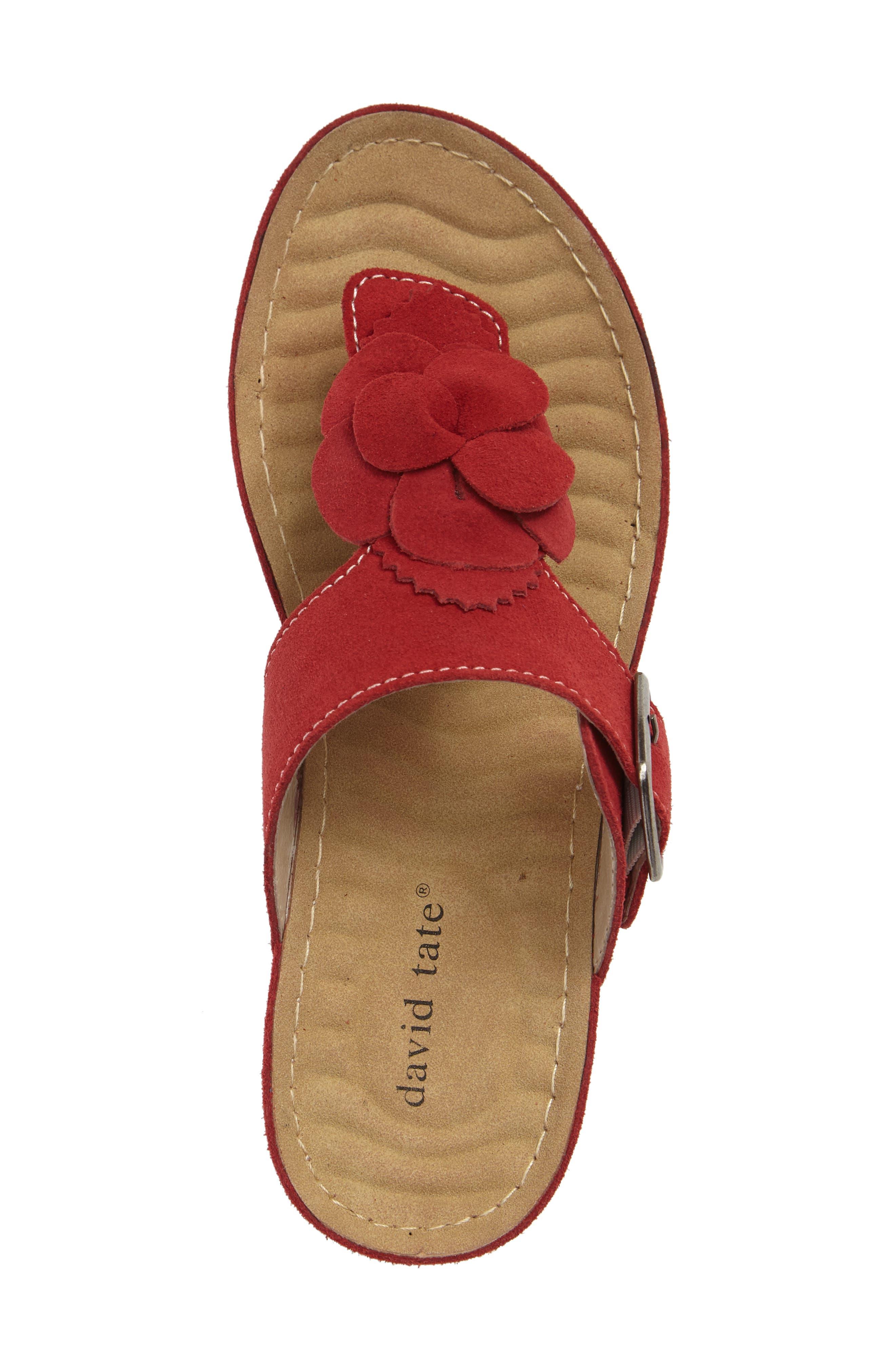 Spring Platform Wedge Sandal,                             Alternate thumbnail 3, color,                             Red Suede