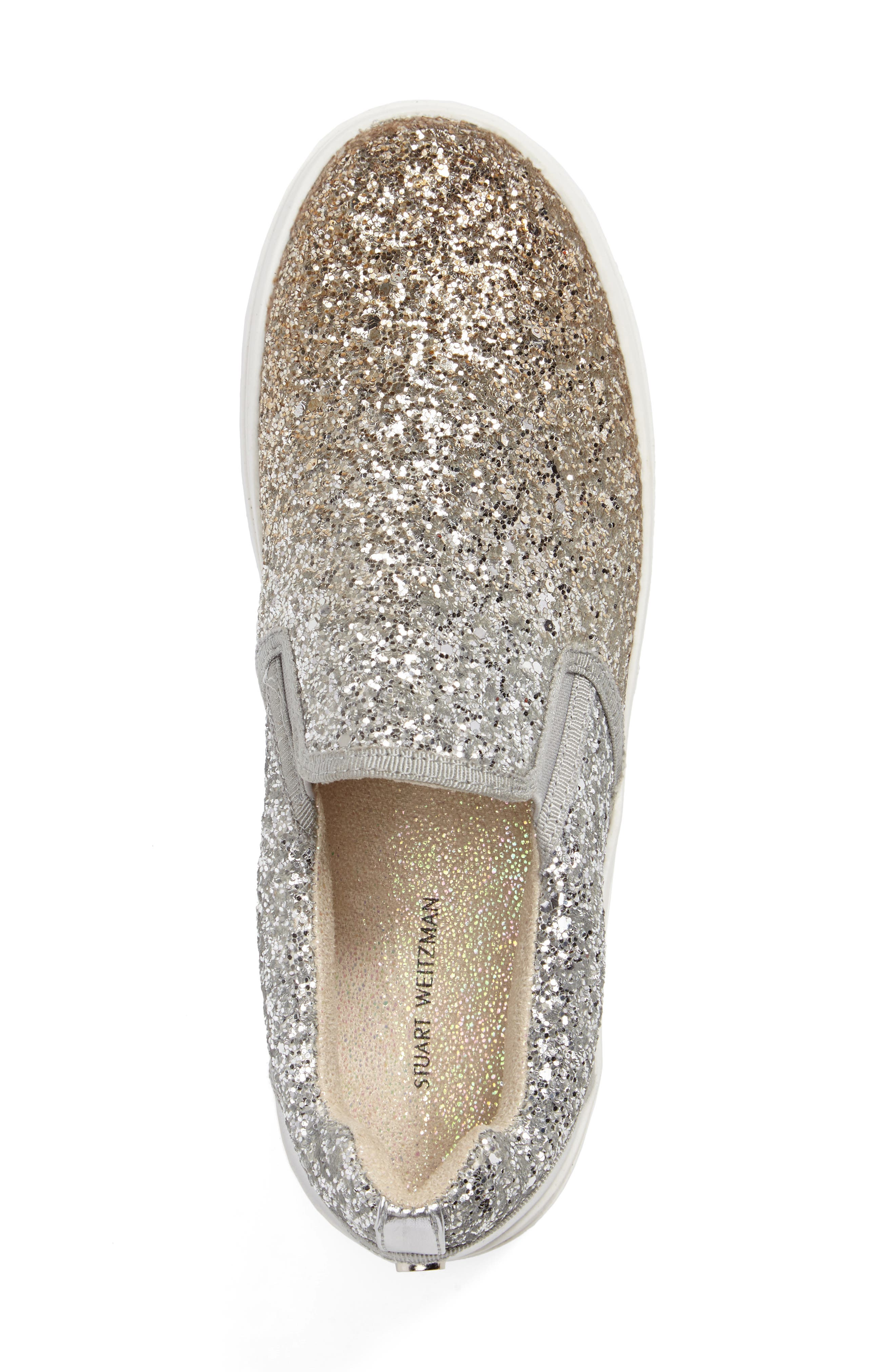 Double Marcia Glitter Platform Sneaker,                             Alternate thumbnail 3, color,                             Silver/ Gold