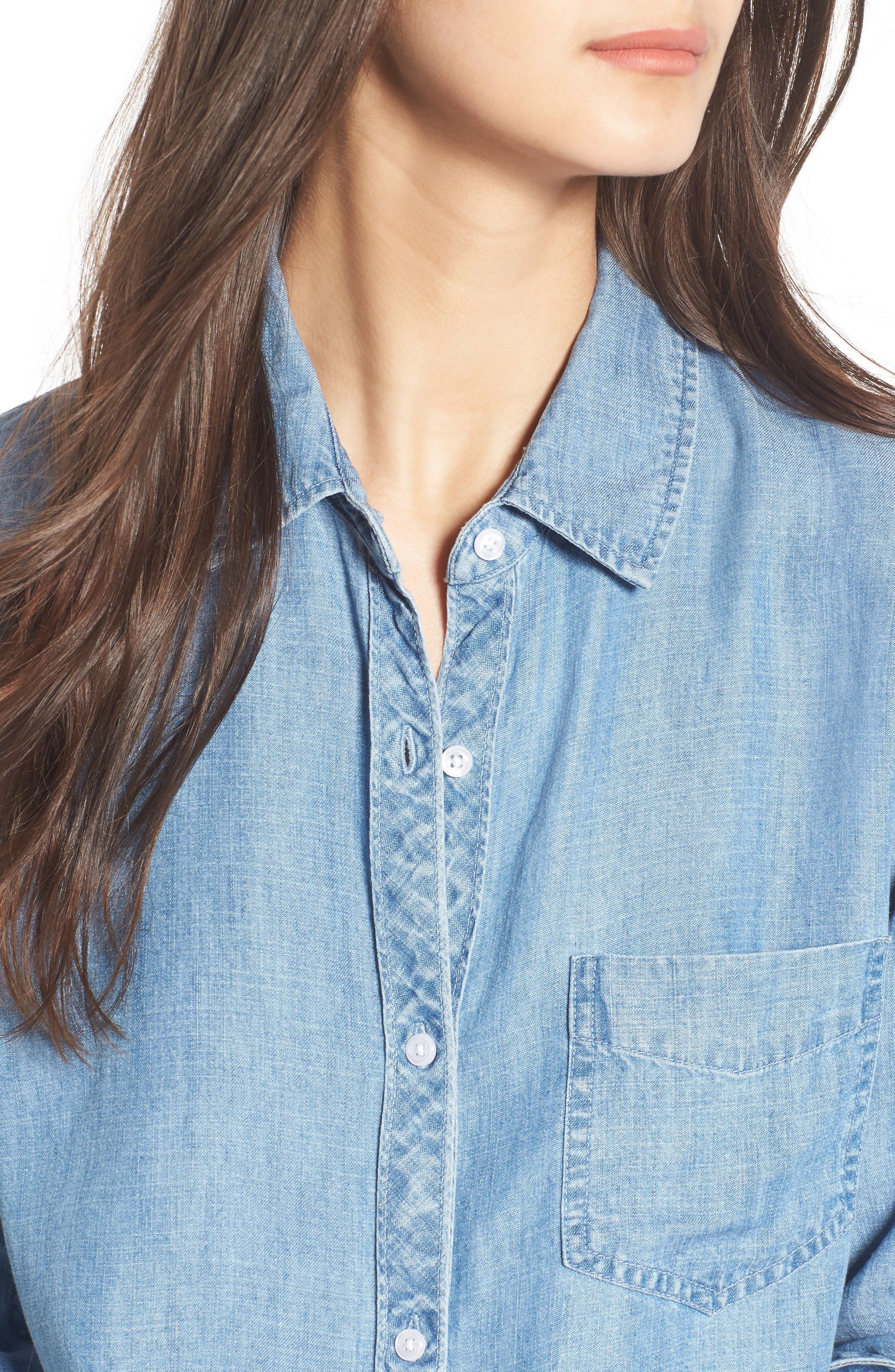 Ingrid Chambray Shirt,                             Alternate thumbnail 4, color,                             Indigo
