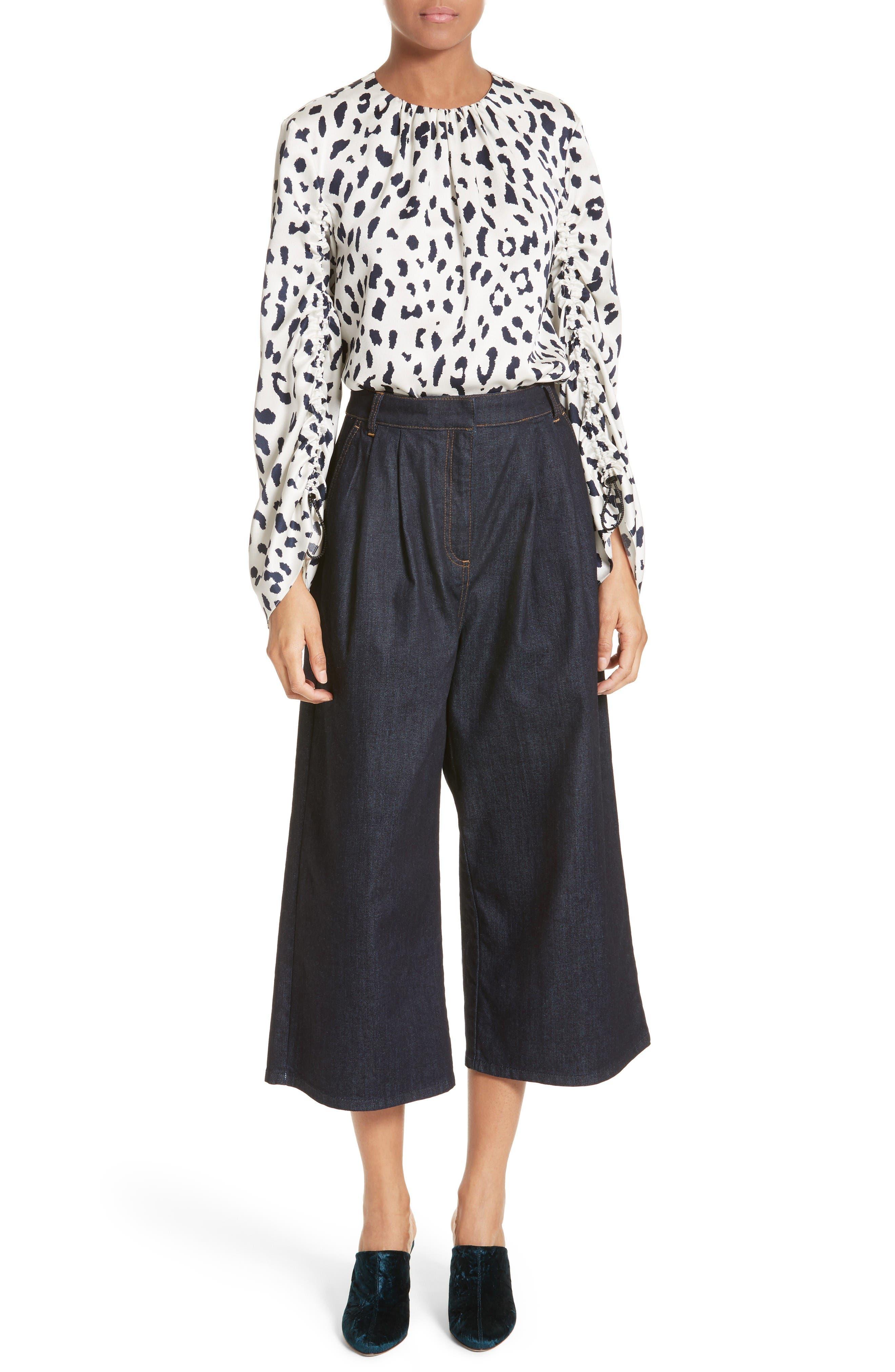 Sam High Waist Culotte Jeans,                             Alternate thumbnail 2, color,                             Dark Denim