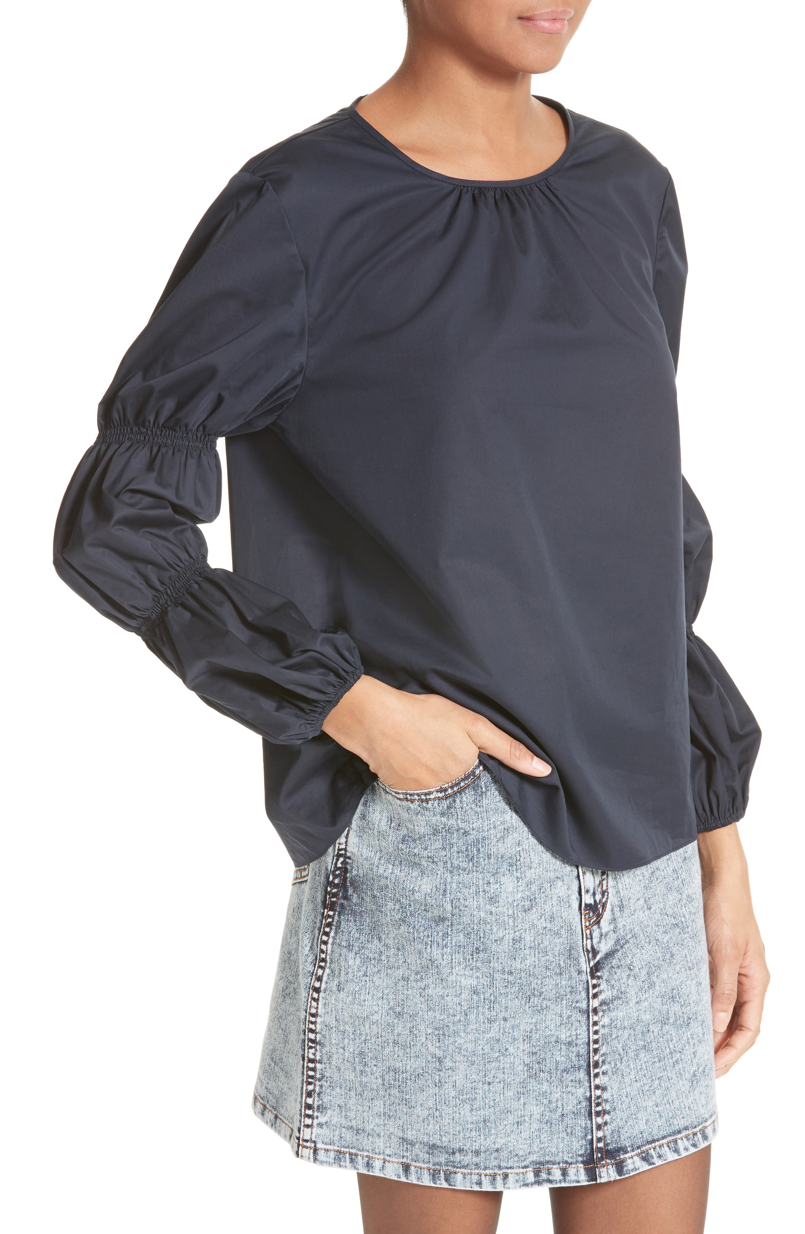 Alternate Image 4  - Tibi Satin Poplin Smocked Sleeve Top